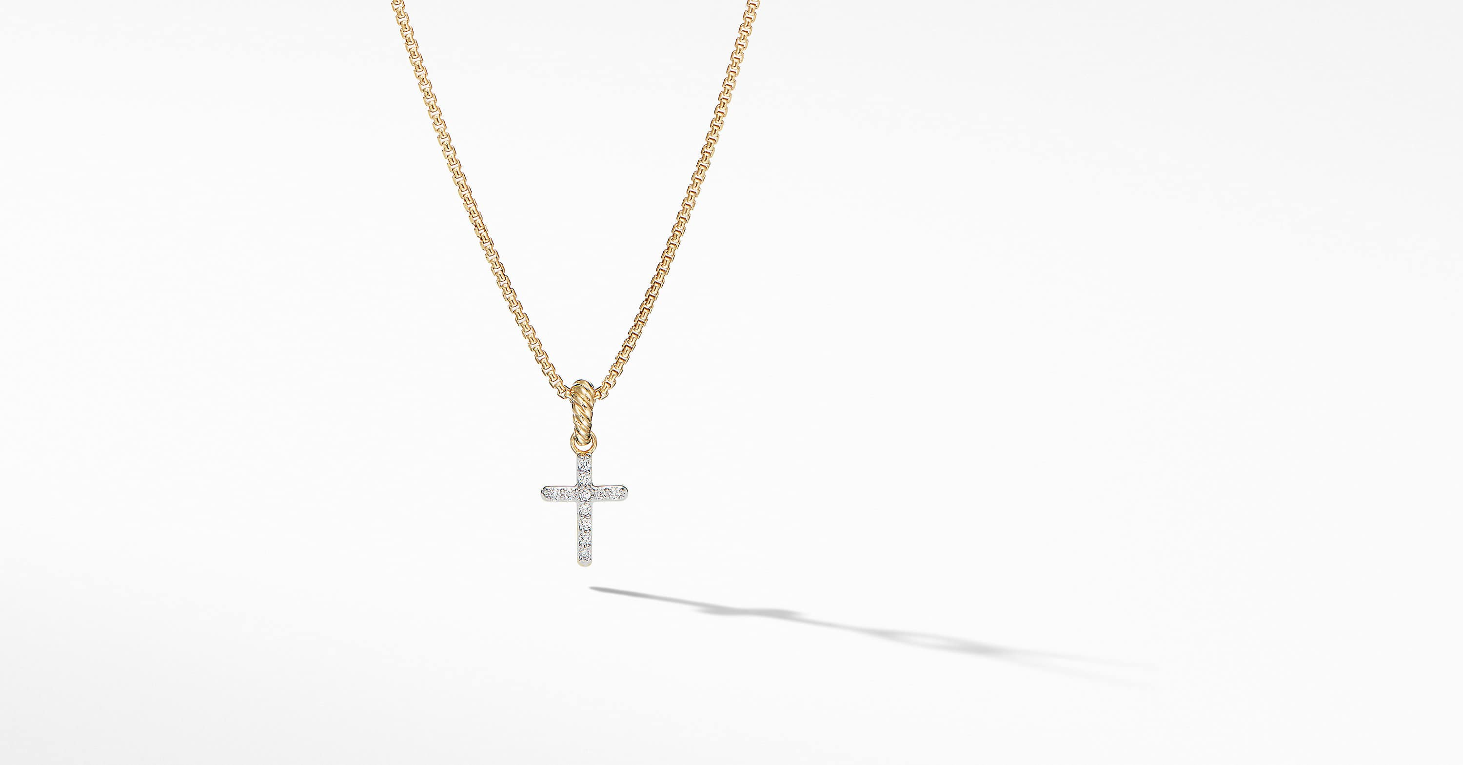 Cable Collectibles Cross Pendant in 18K Yellow Gold with Diamonds
