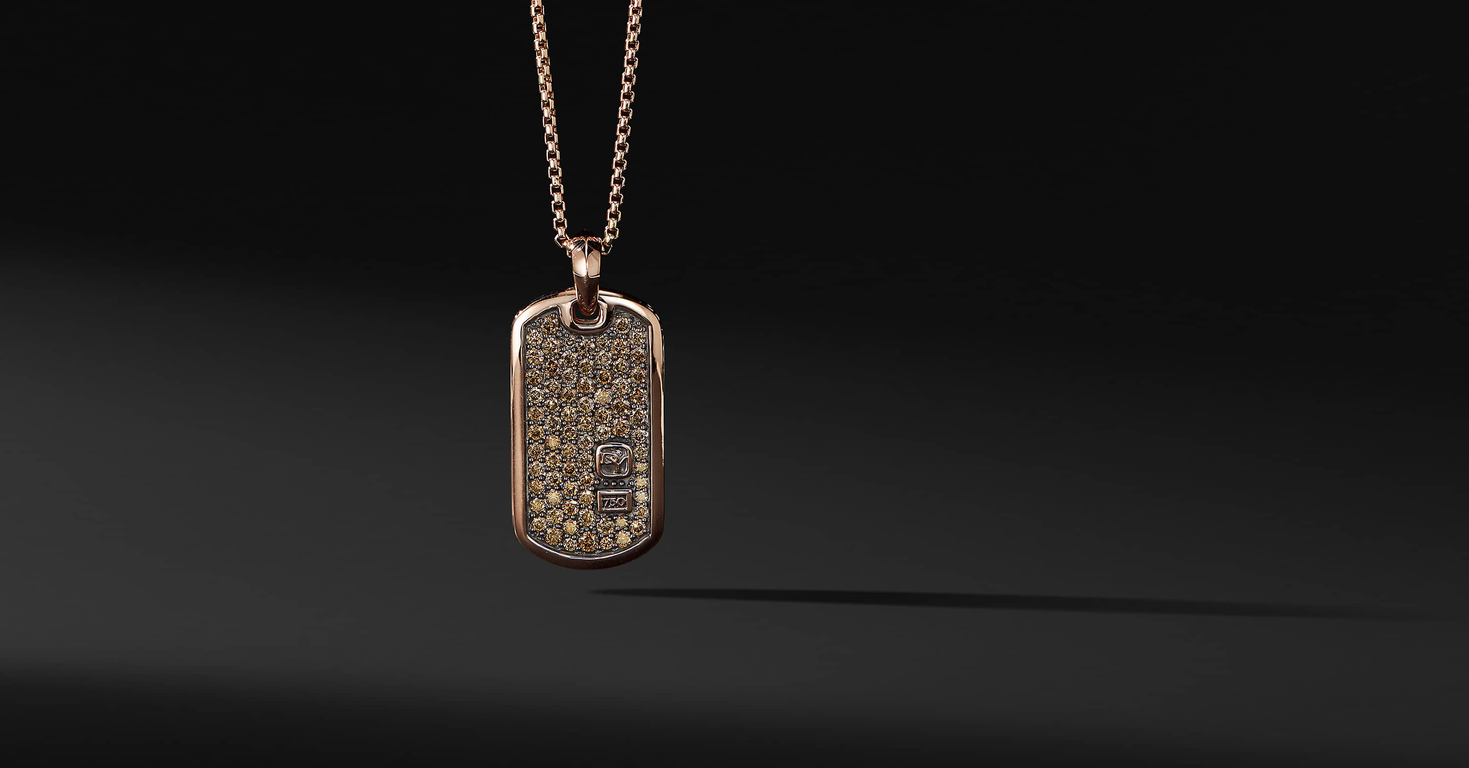 Pavé Tag with Diamonds in 18K Rose Gold