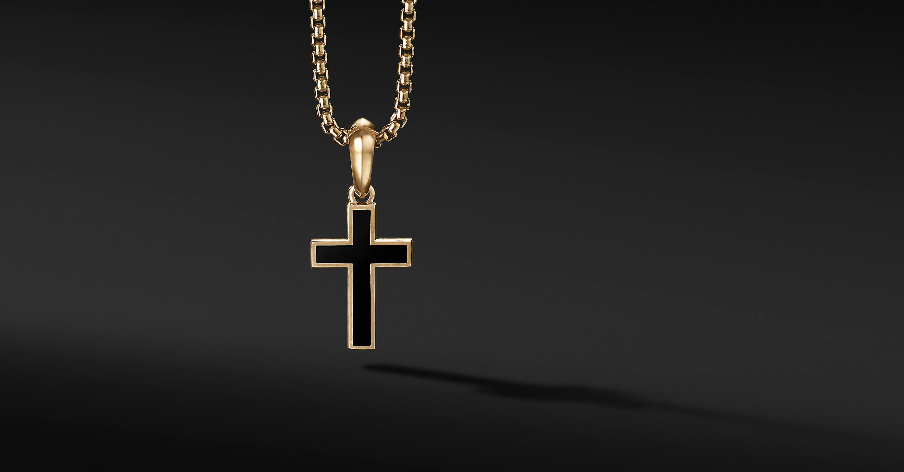 Exotic Stone Cross in 18K Yellow Gold