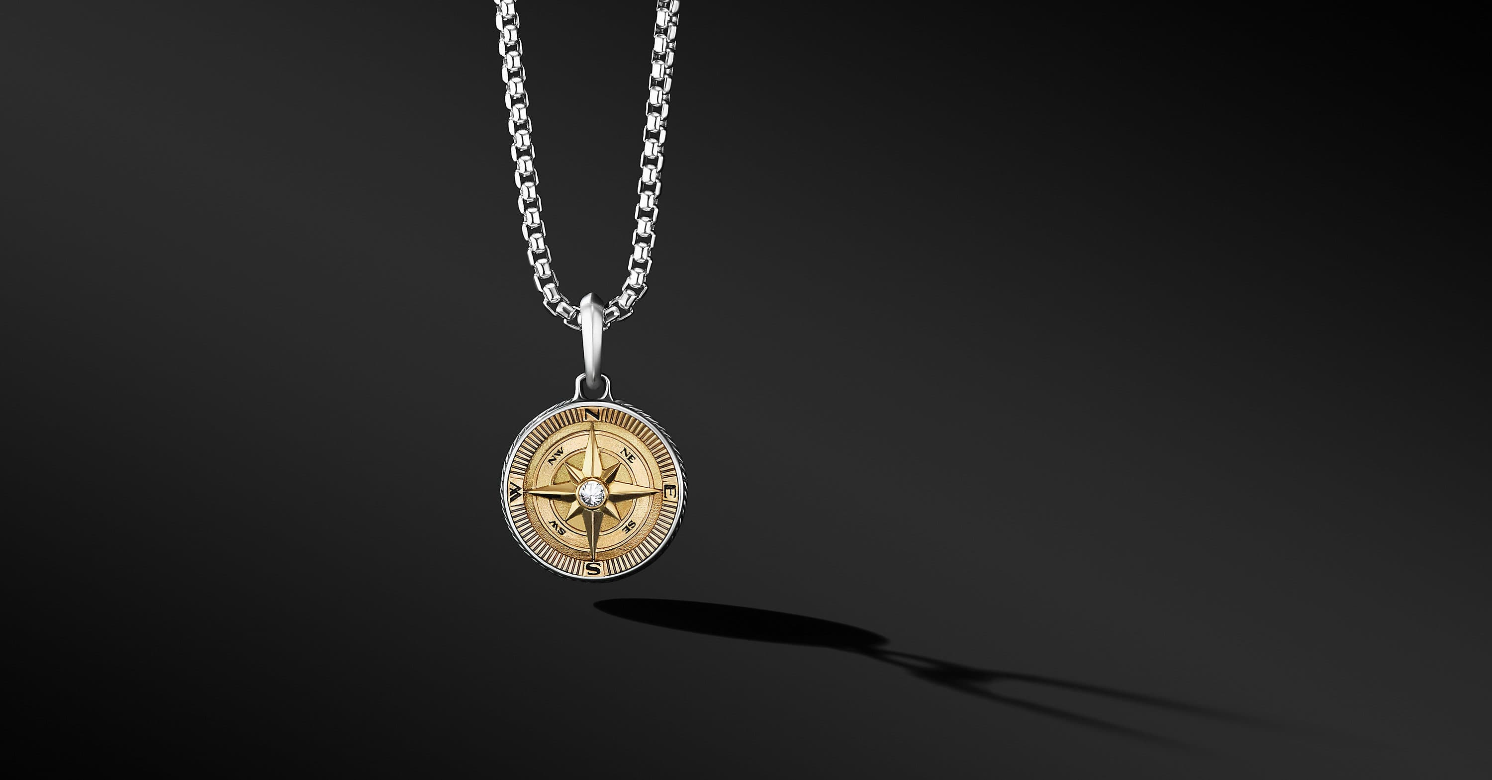 Maritime Compass Amulet with 18K Yellow Gold