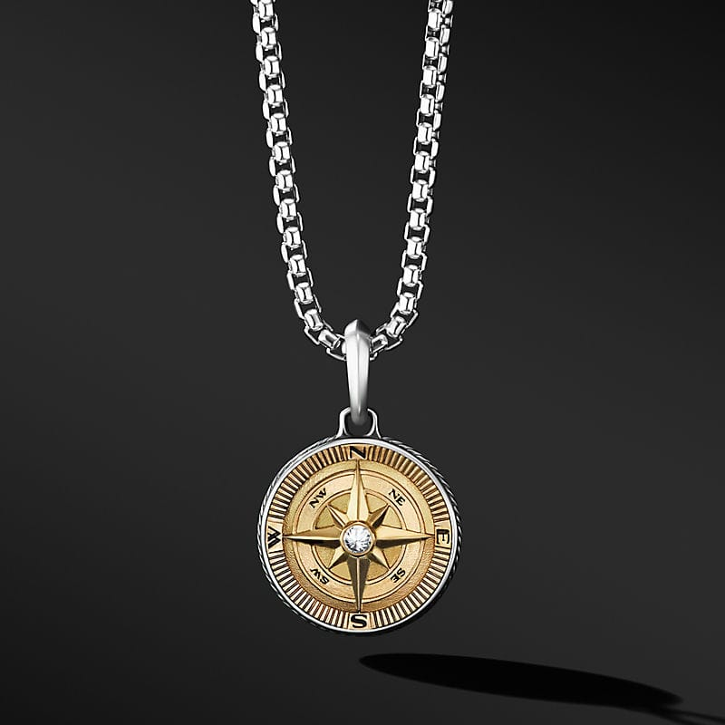 Maritime® Compass Amulet with 18K Yellow Gold and