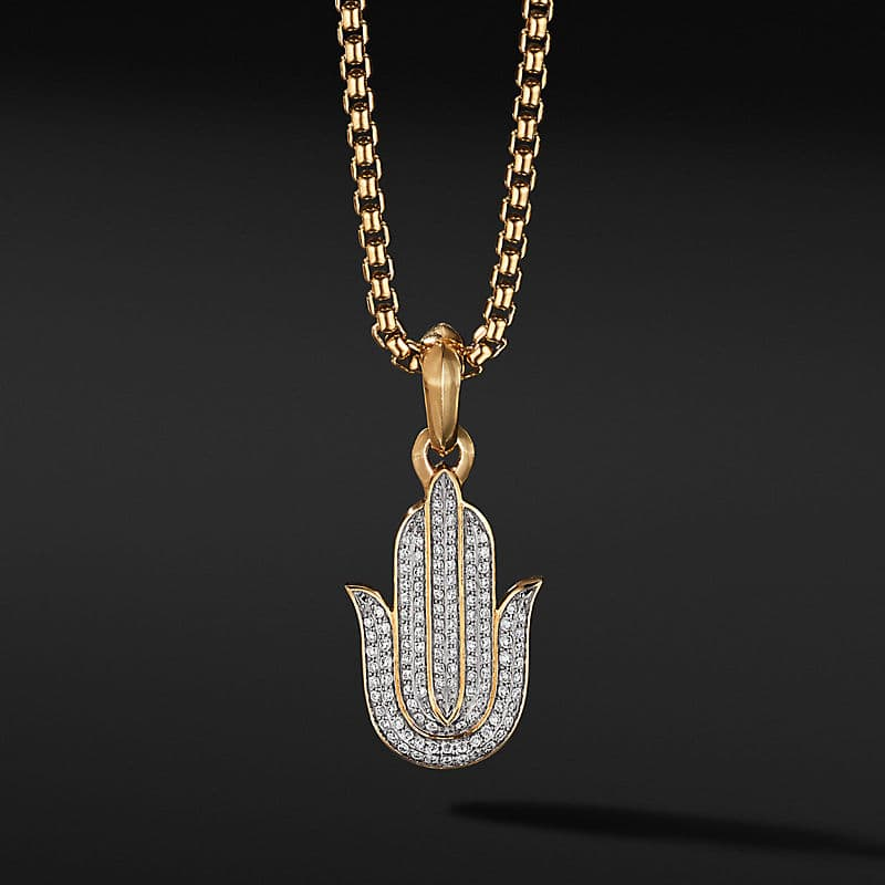 Hamsa Amulet in 18K Yellow Gold with Pavé