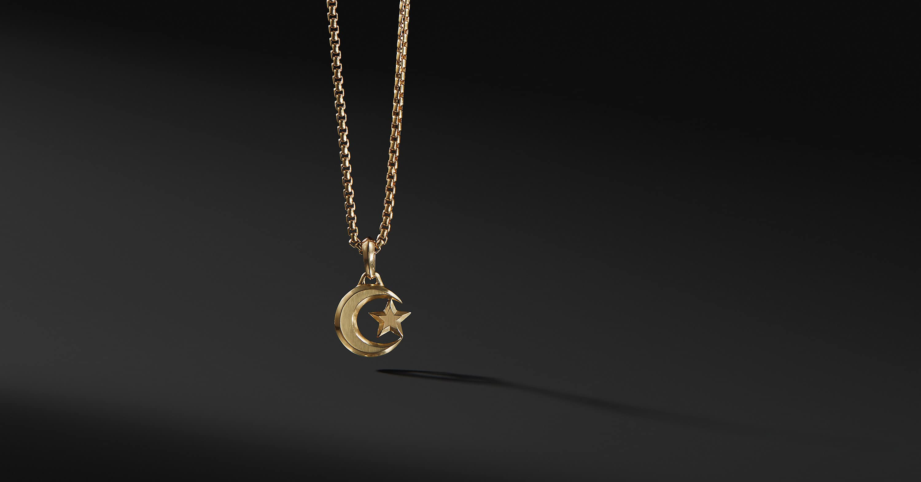 Star and Crescent Amulet in 18K Gold