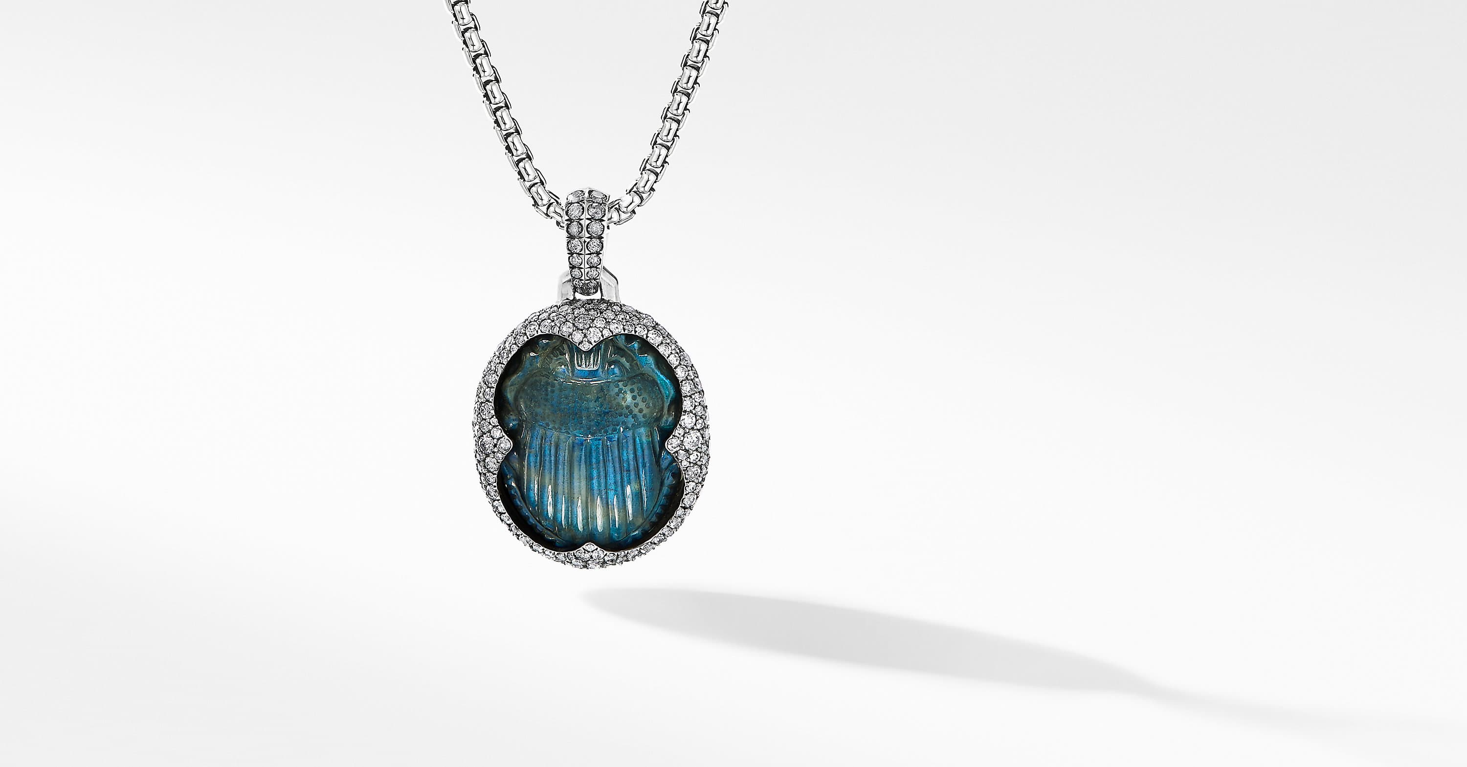 Petrvs Scarab Amulet in 18K White Gold with Pavé