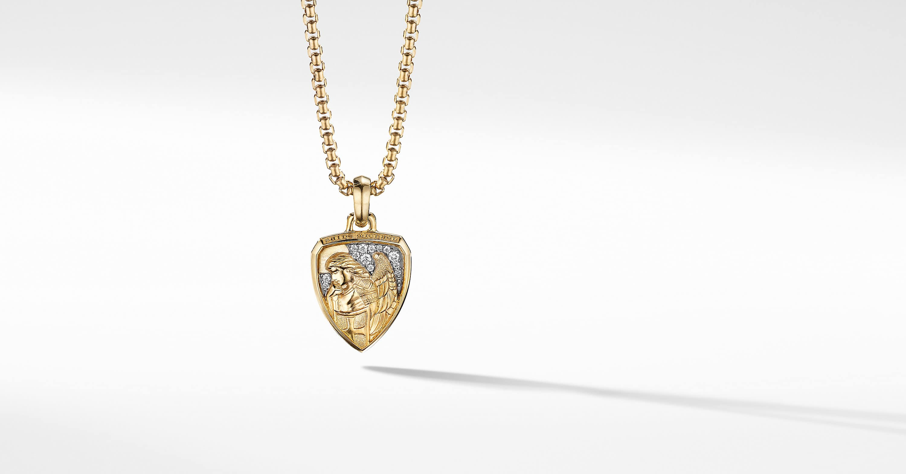 St. Michael Amulet in 18K Yellow Gold with Pavé