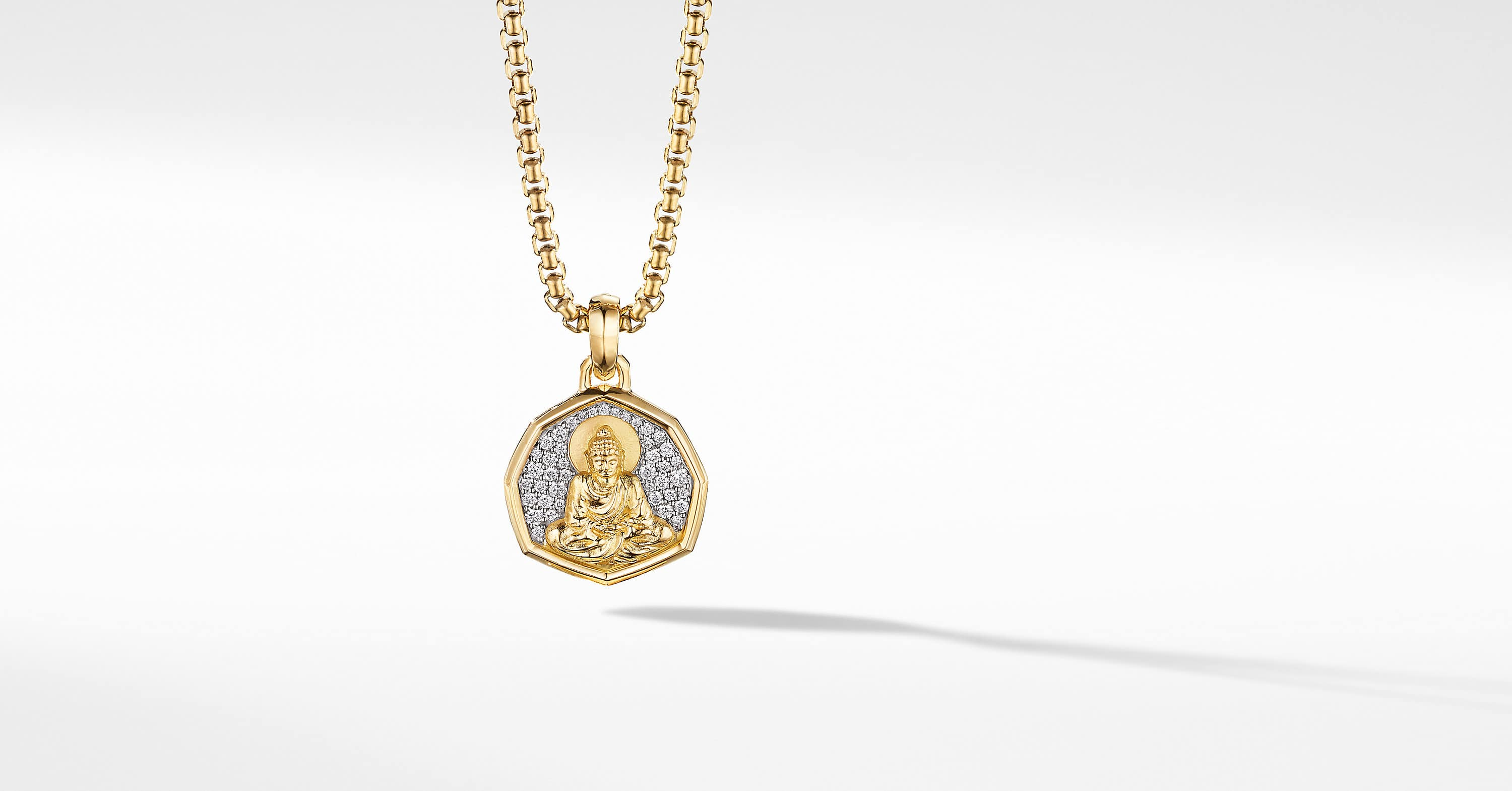 Buddha Amulet in 18K Yellow Gold with Pavé