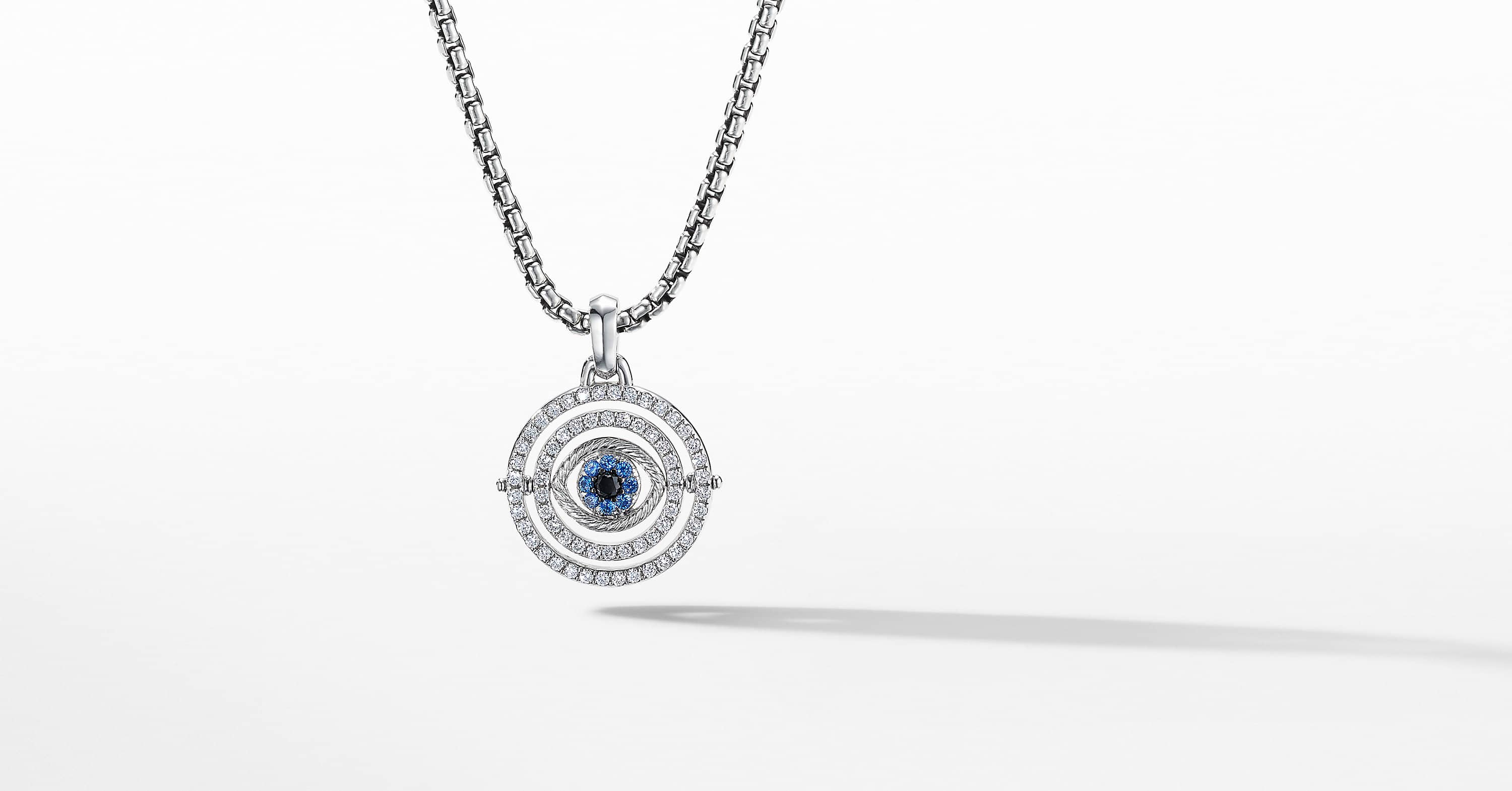 Evil Eye Amulet in 18K White Gold with Pavé