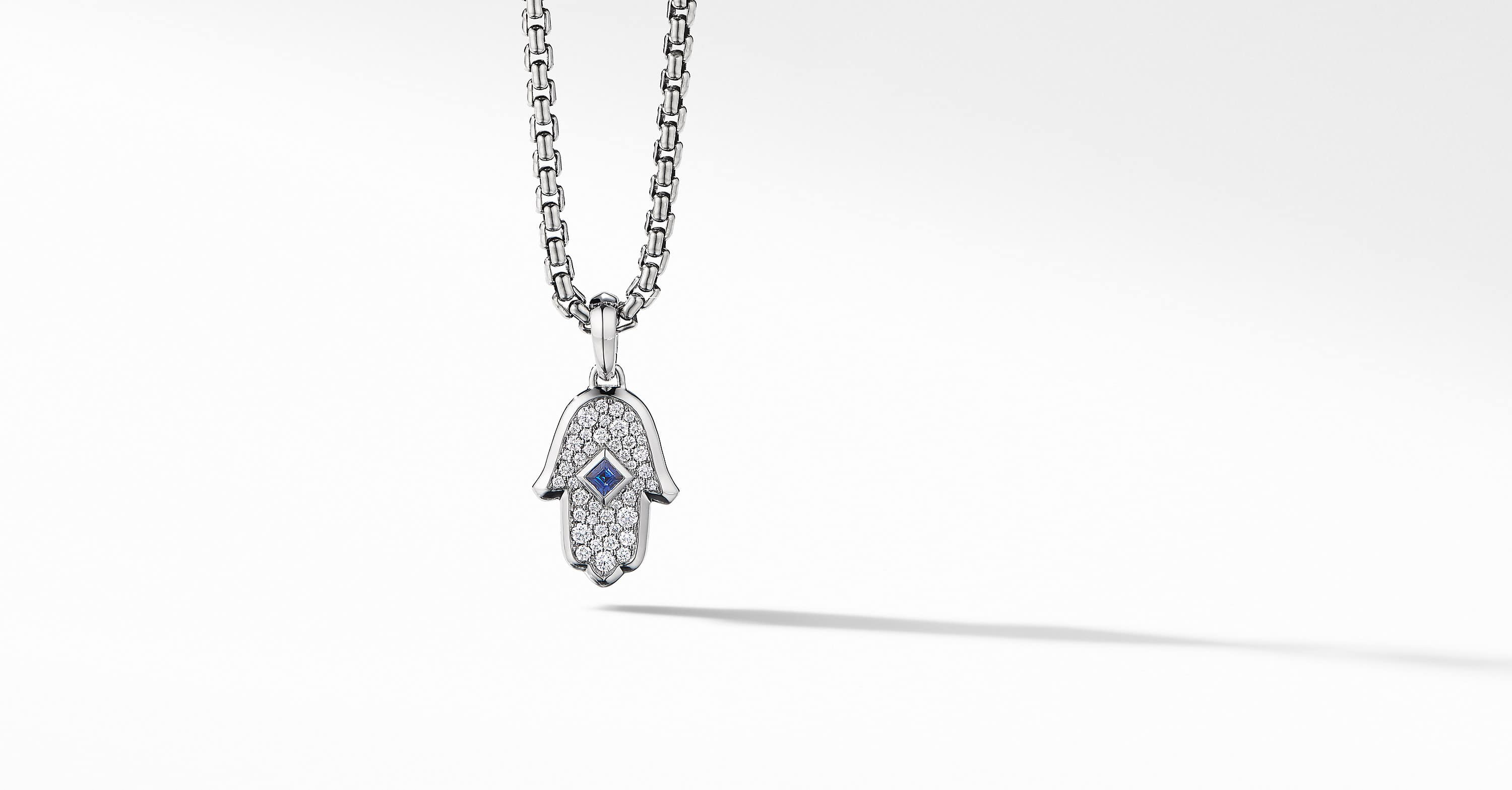 Hamsa Amulet in 18K White Gold with Pavé