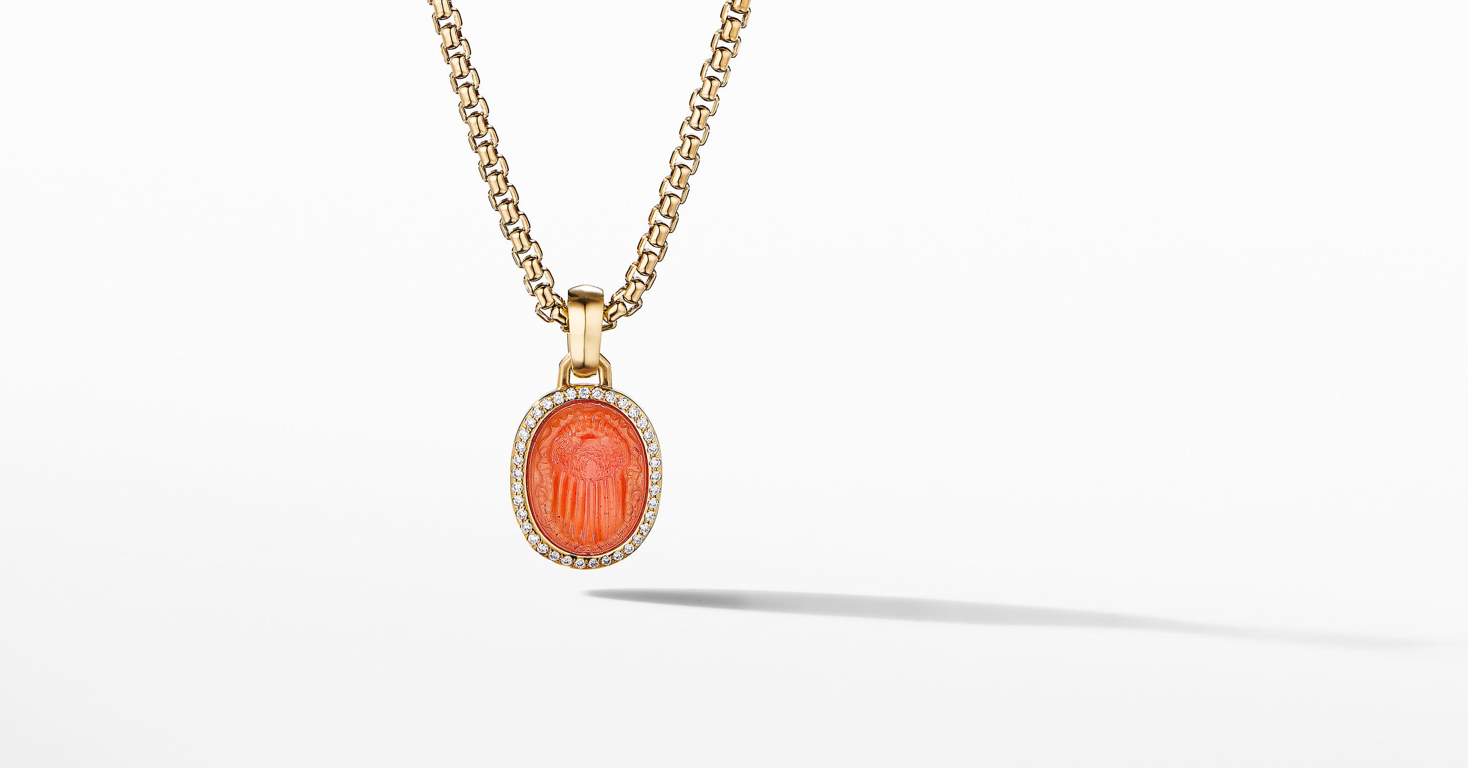 Petrvs Small Scarab Pendant in 18K Yellow Gold with Pavé