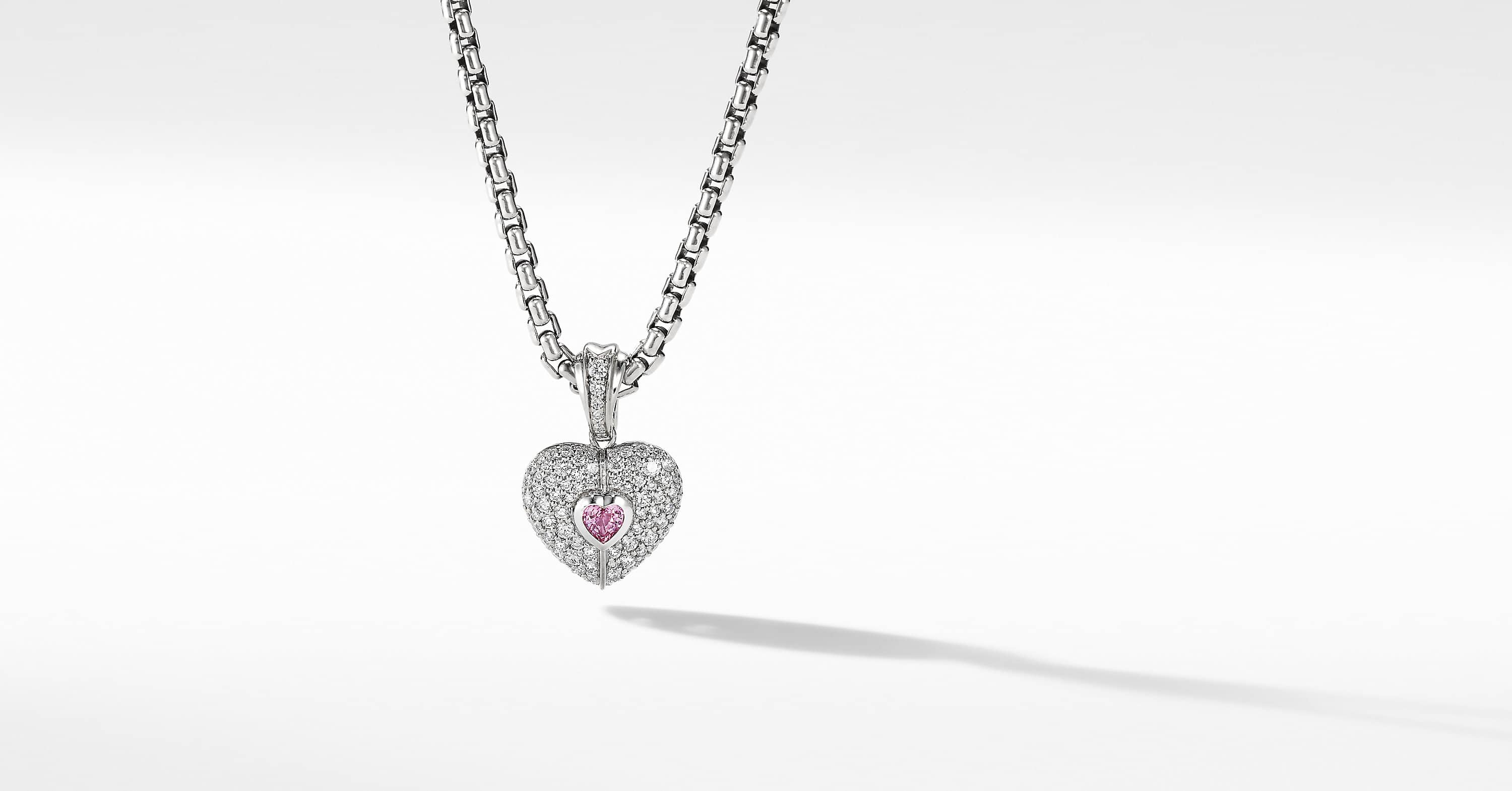 Heart Amulet in 18K White Gold with Pavé