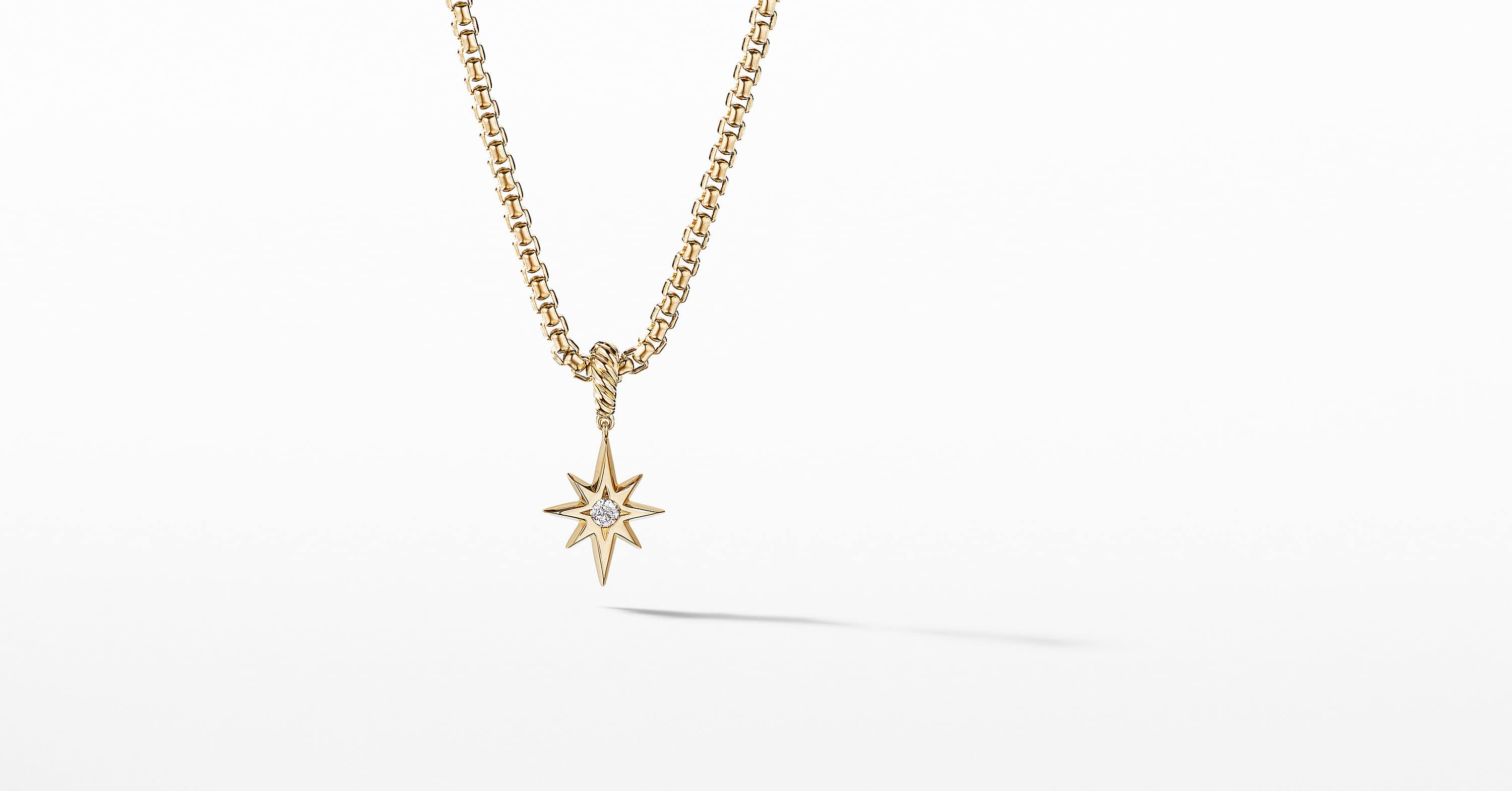 North Star Birthstone Charm in 18K Yellow Gold with Center Diamond