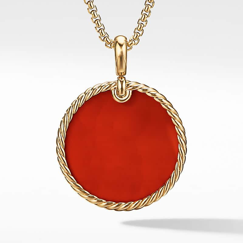 DY Elements Disc Pendant in 18K Yellow Gold, 32mm