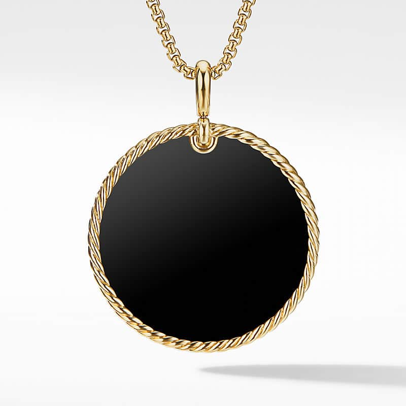 DY Elements Disc Pendant in 18K Yellow Gold, 42mm