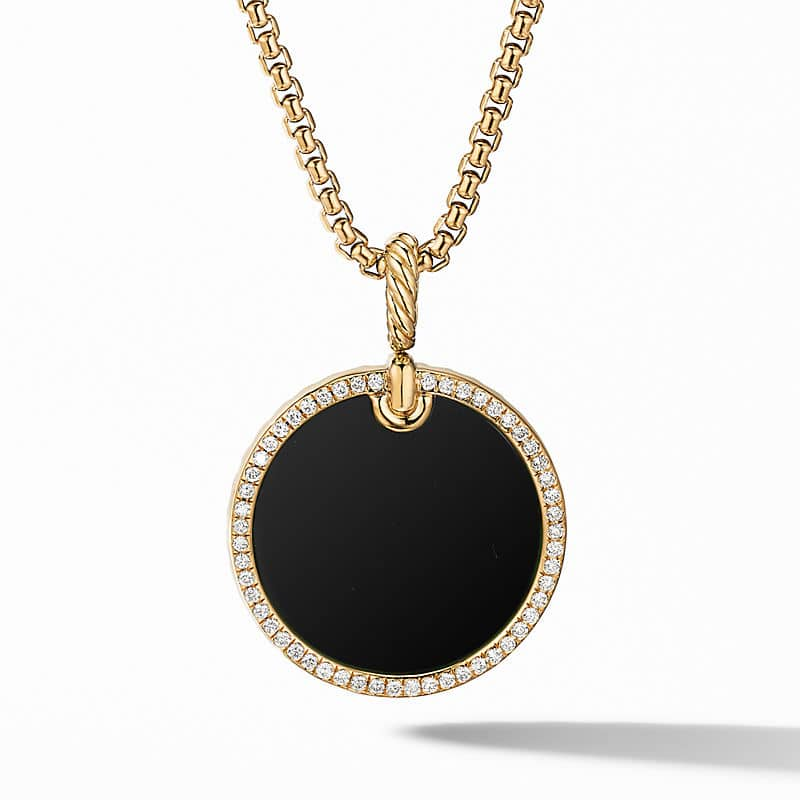 DY Elements Disc Pendant in 18K Yellow Gold with Pavé Rim, 24mm
