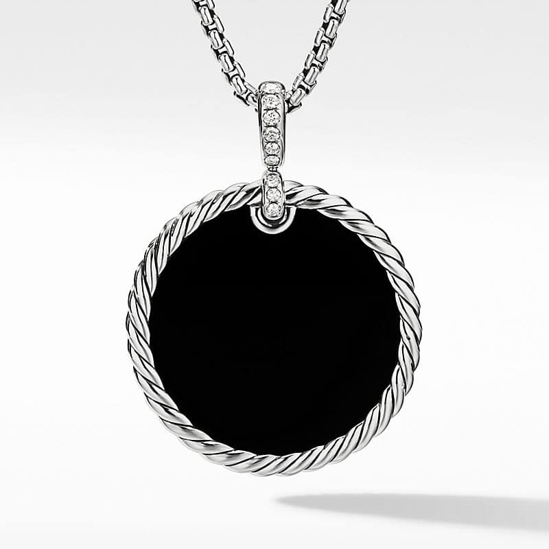 DY Elements Disc Pendant with Diamonds, 32mm