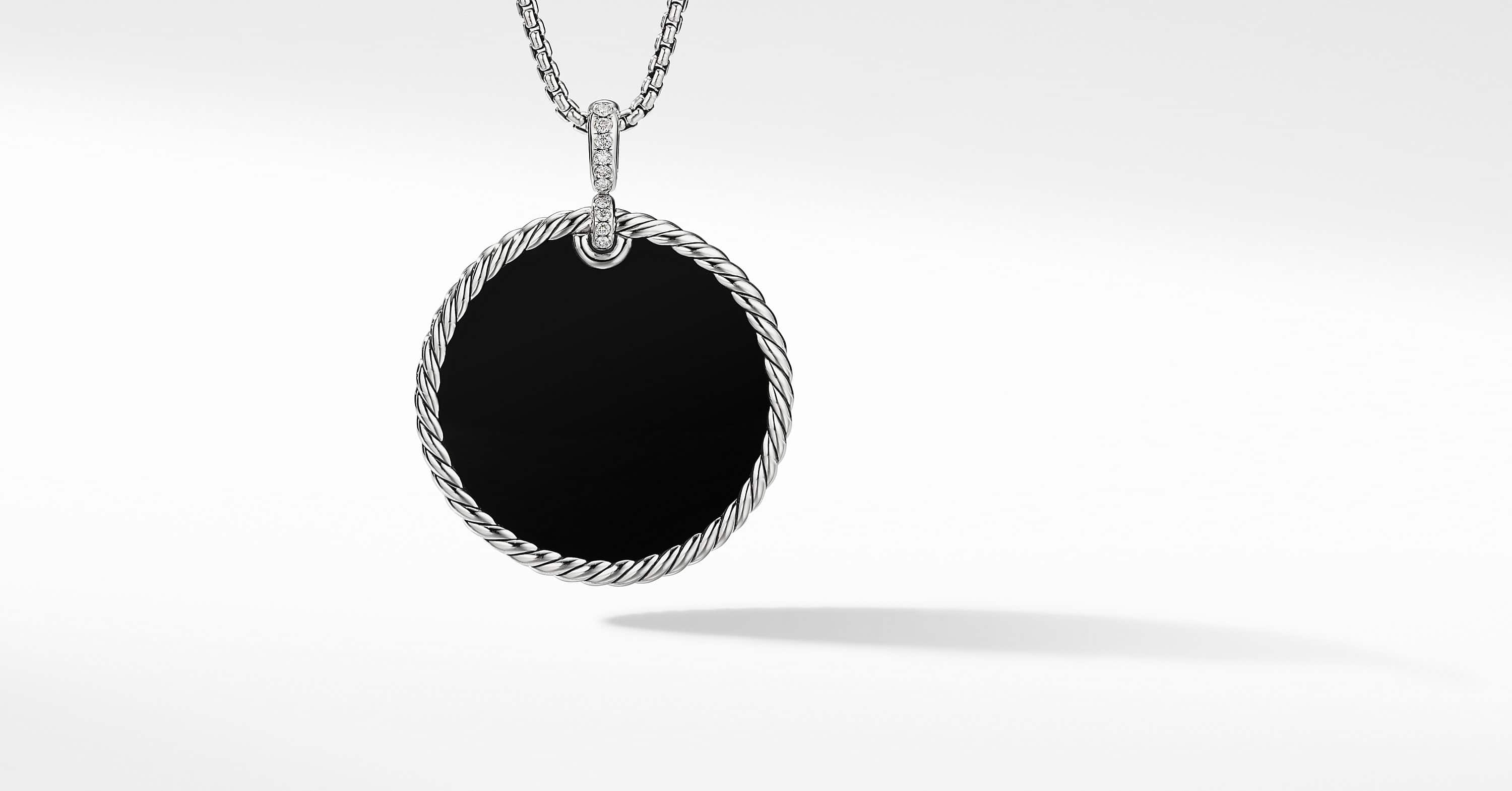 DY Elements Disc Pendant with Diamonds, 42mm