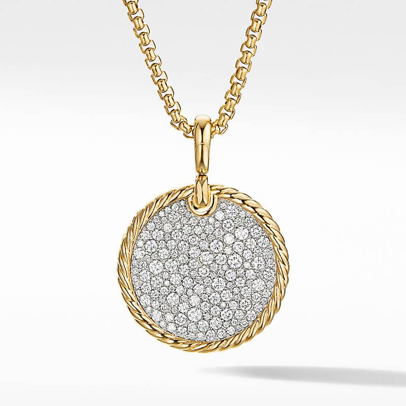 DY Elements Disc Pendant in 18K Yellow Gold with Diamonds, 24mm