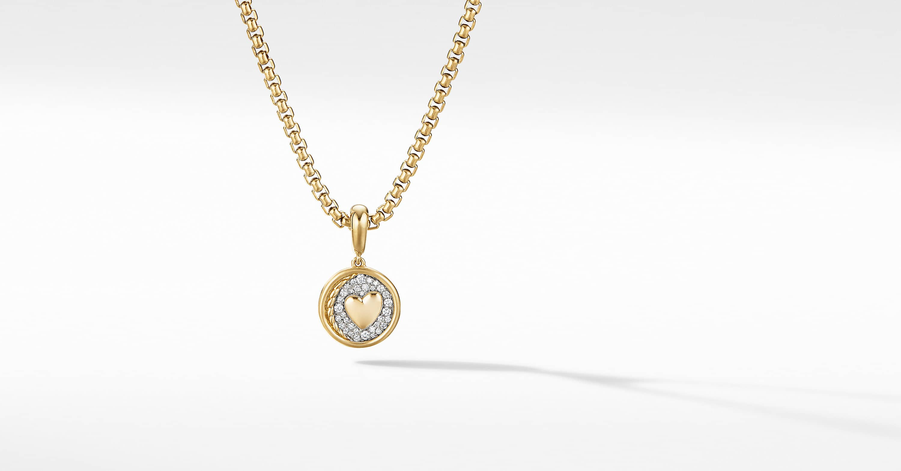 SY Heart Amulet in 18K Yellow Gold with Diamonds