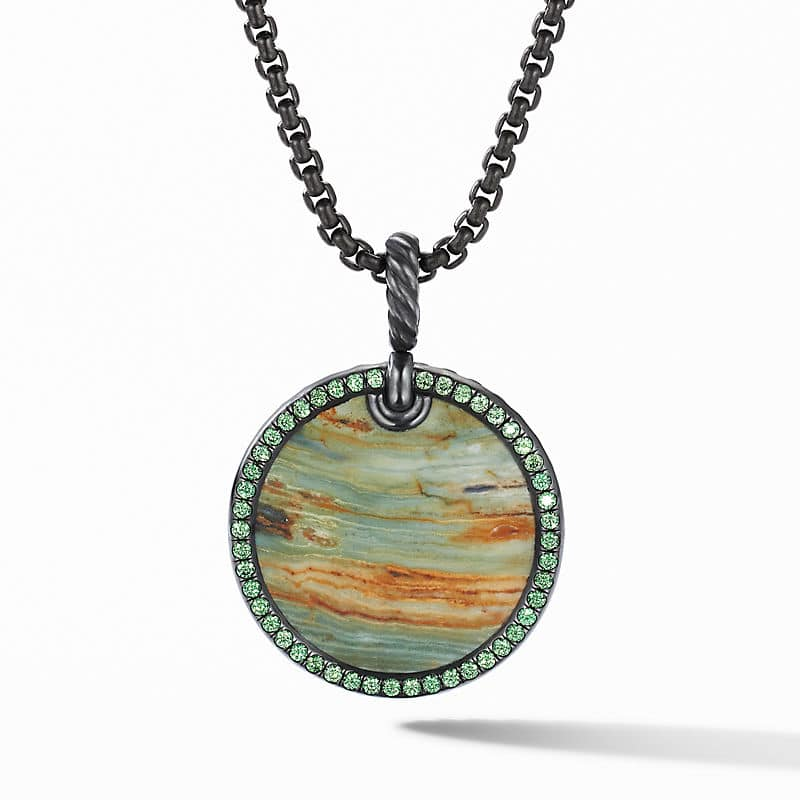DY Elements Disc Pendant in Blackened Silver with Pavé, 24mm