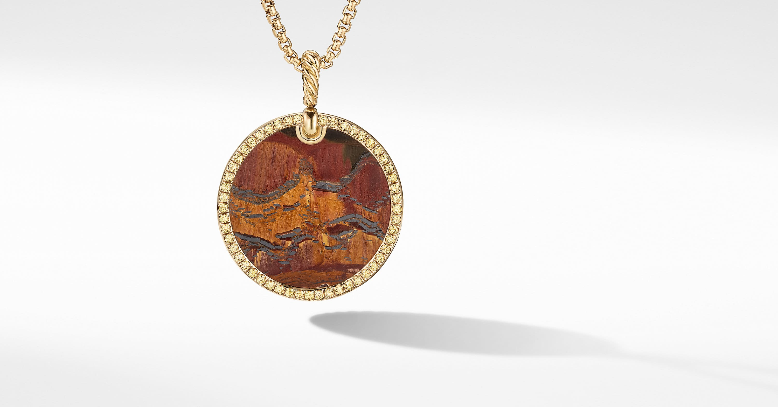 DY Elements Disc Pendant in 18K Yellow Gold with Pavé, 32mm