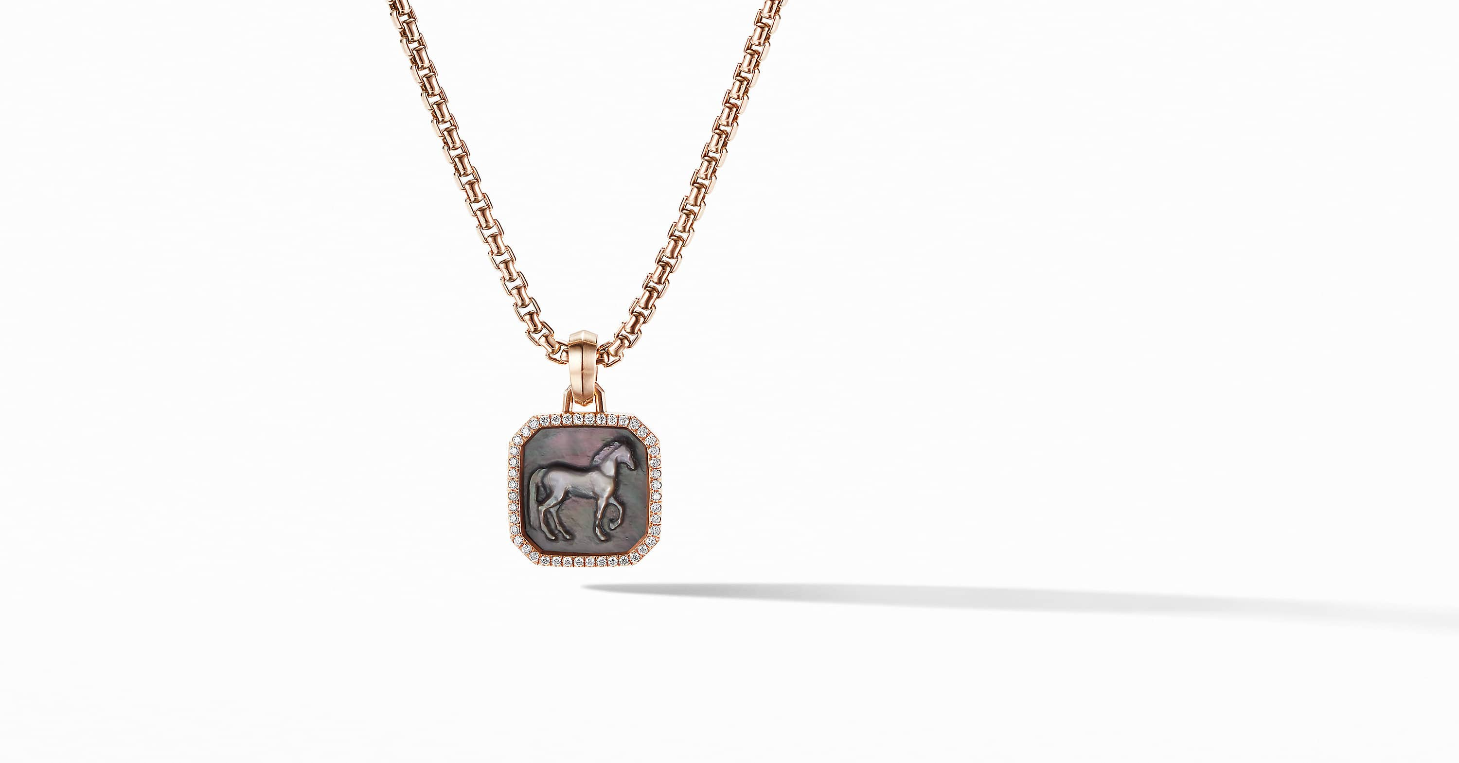 Petrvs Horse Amulet in 18K Rose Gold with Pavé