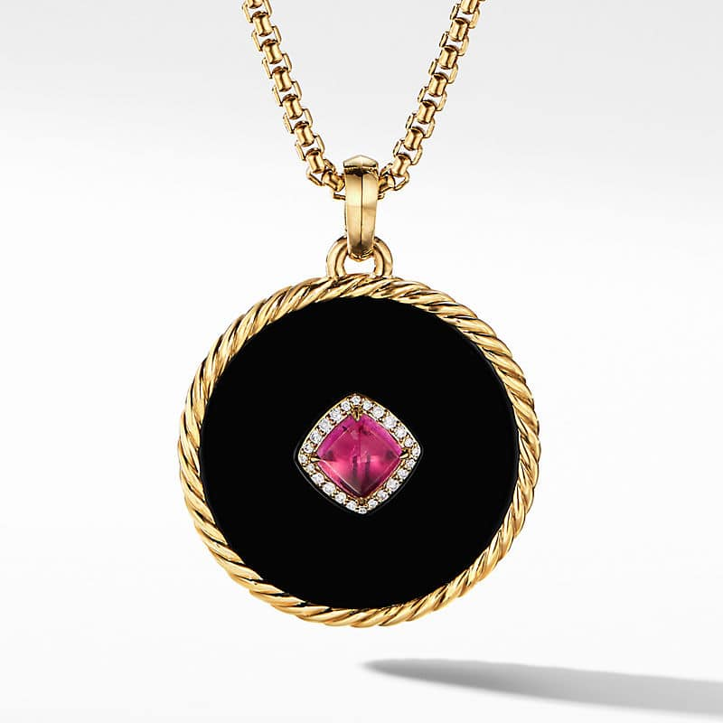 DY Elements Disc Pendant in 18K Yellow Gold with Center Stone and Diamonds, 32mm