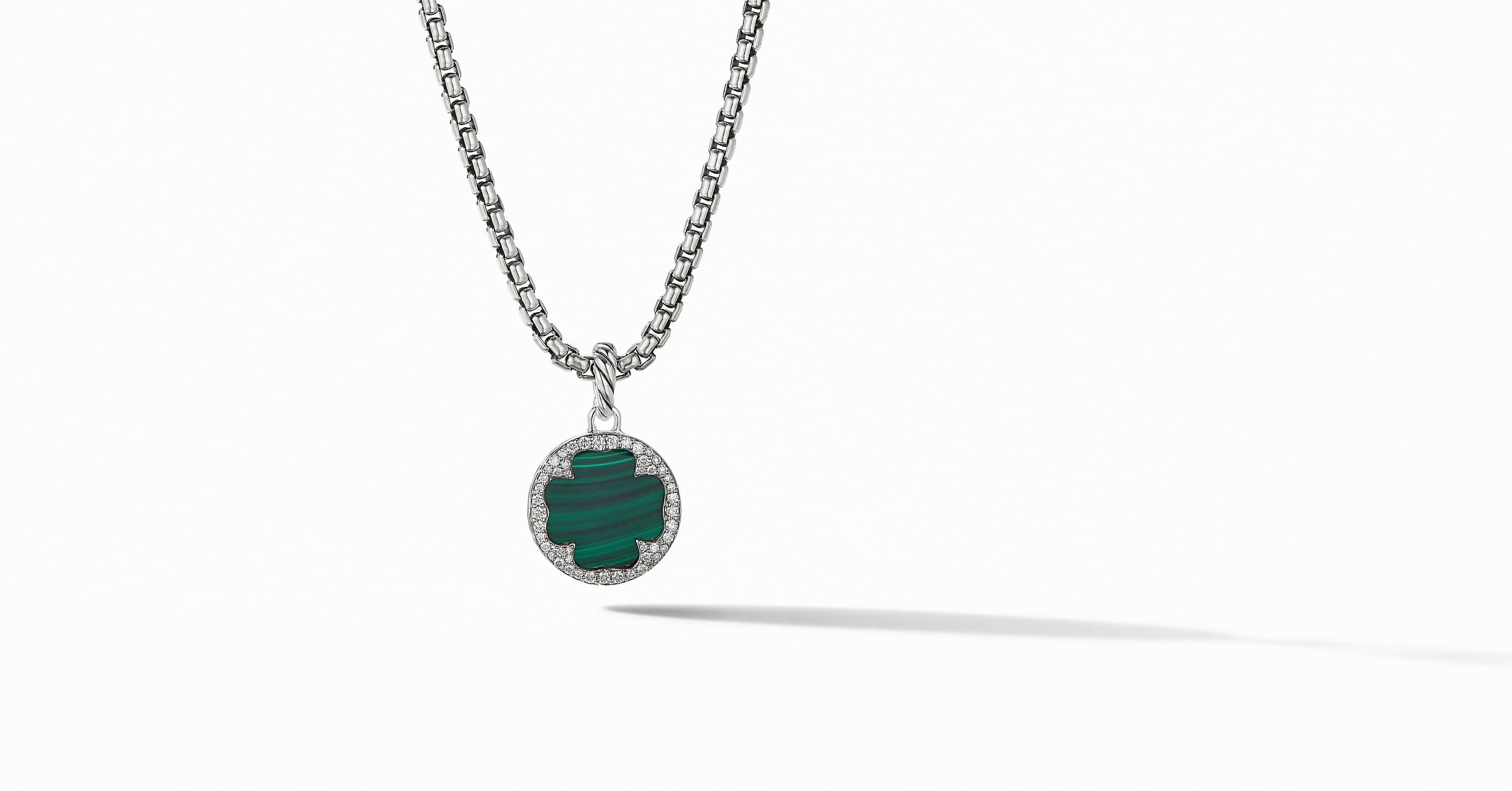DY Elements Clover Disc Pendant with Diamonds, 15mm
