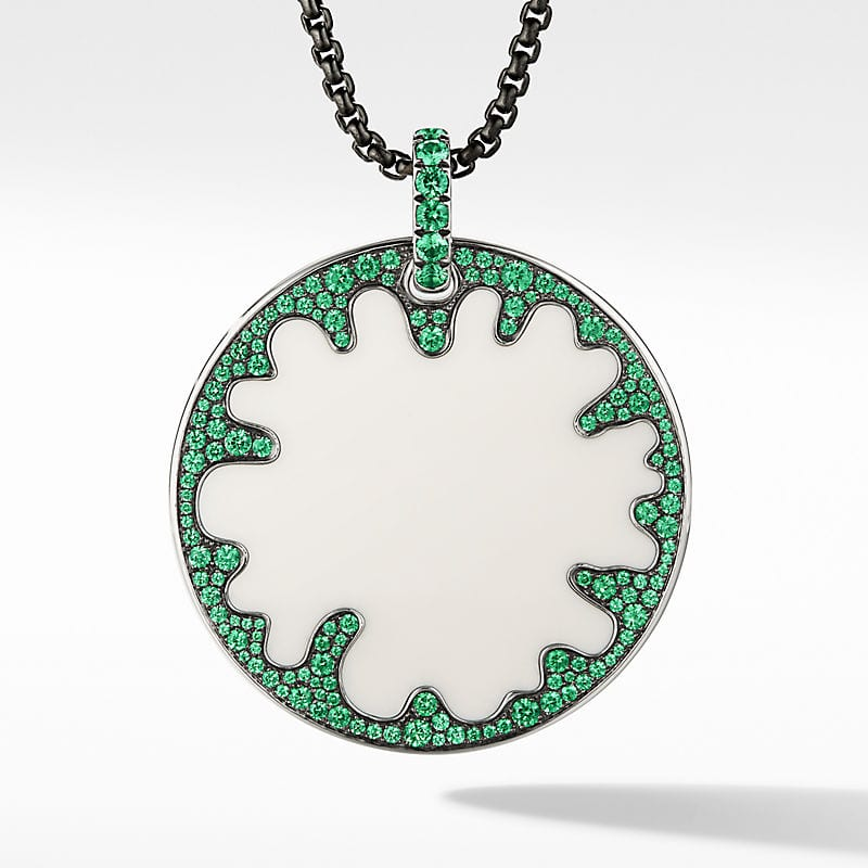 DY Elements Ameoba Disc Pendant in 18K White Gold with Black Rhodium, 45mm