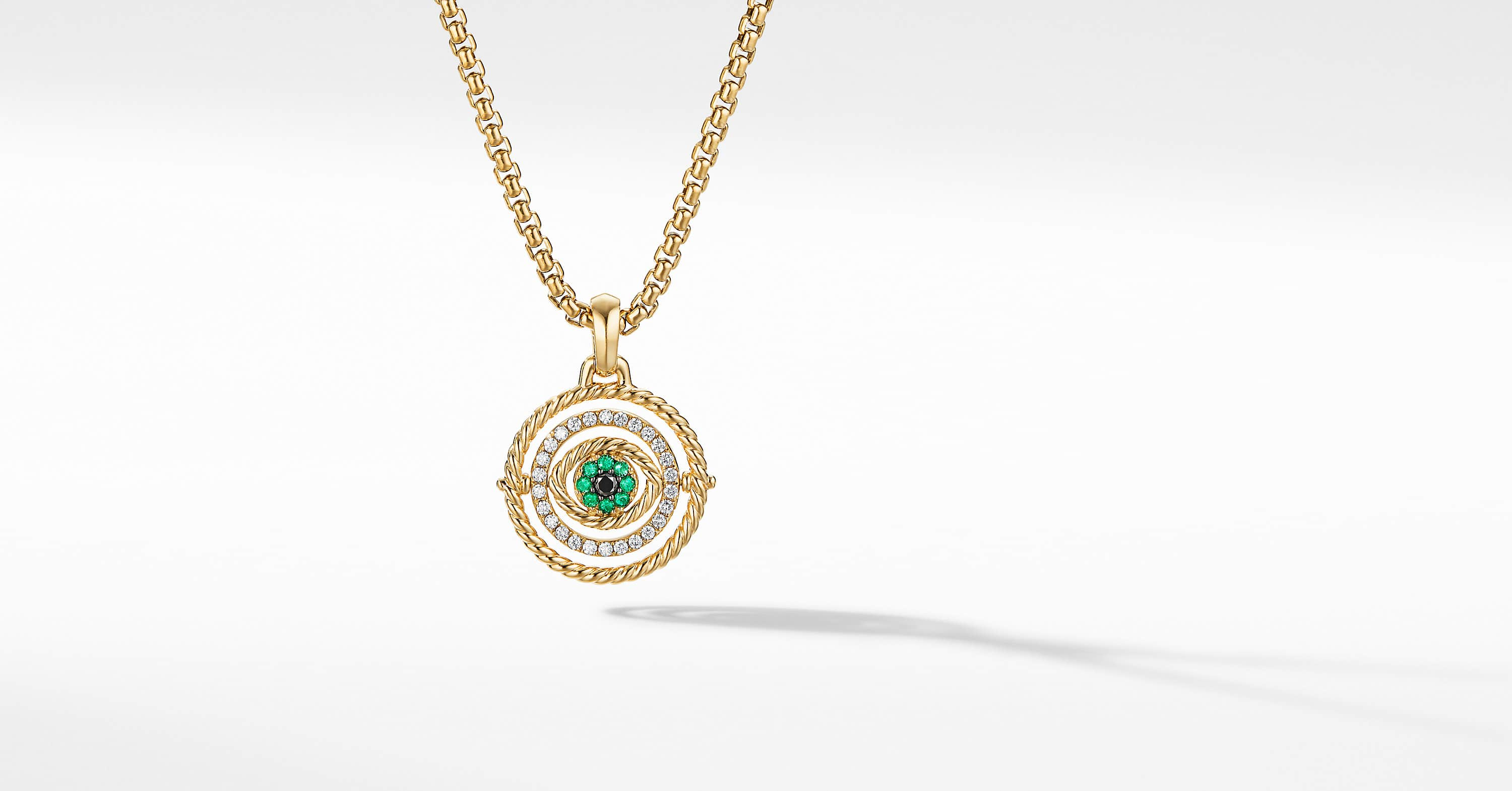 Evil Eye Mobile Amulet in 18K Yellow Gold with Pavé, 20.5mm