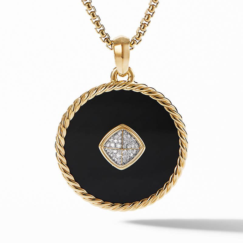 DY Elements Disc Pendant in 18K Yellow Gold with Pavé, 36mm