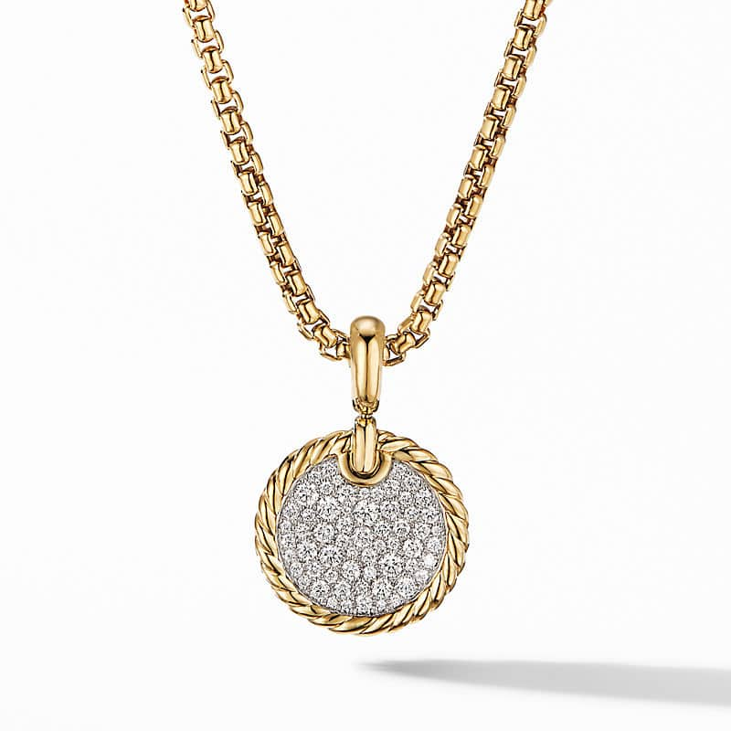 DY Elements Disc Pendant in 18K Yellow Gold with Pavé, 14mm