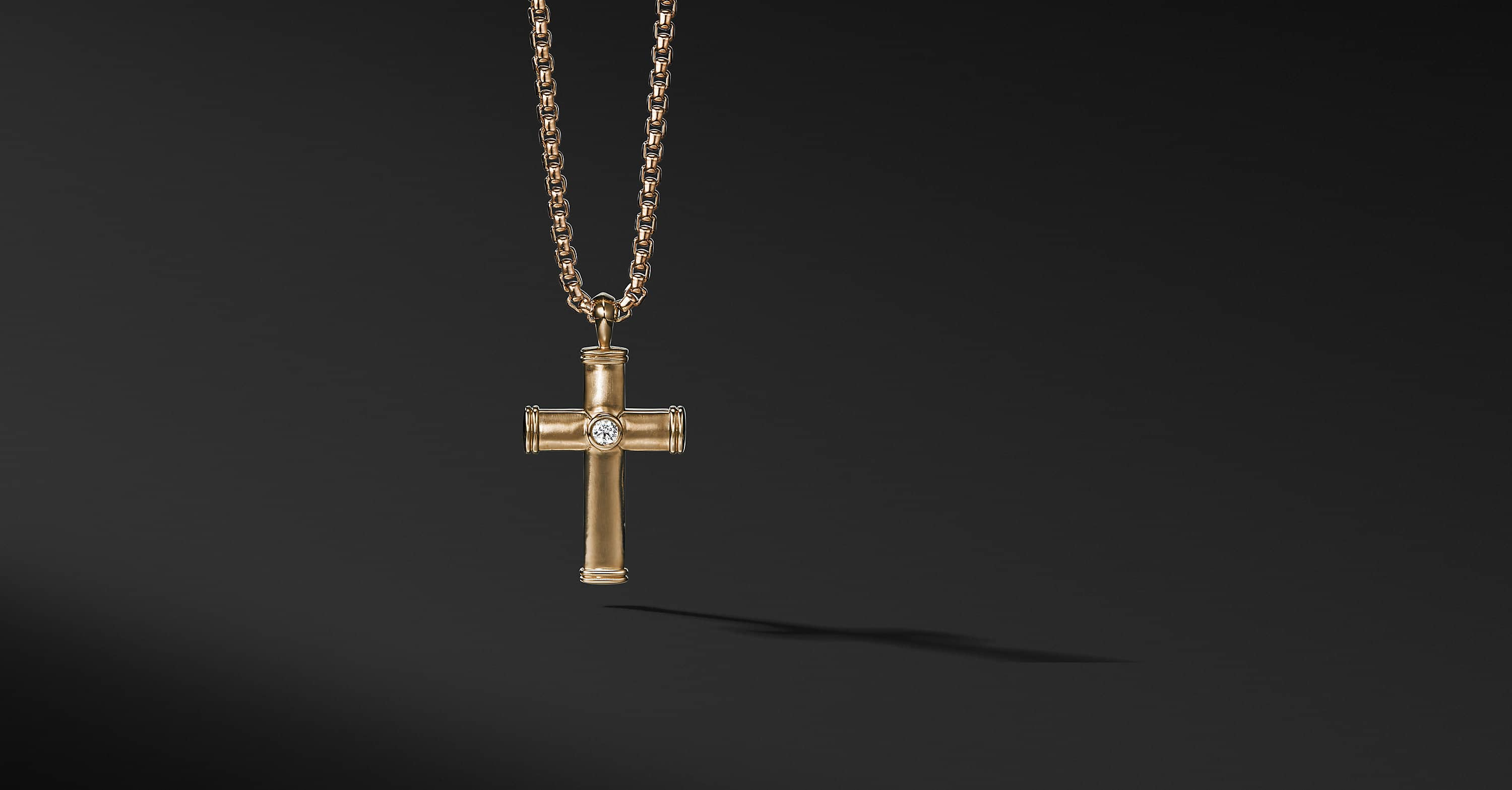 Streamline Cross Tag with Diamonds in 18K Gold