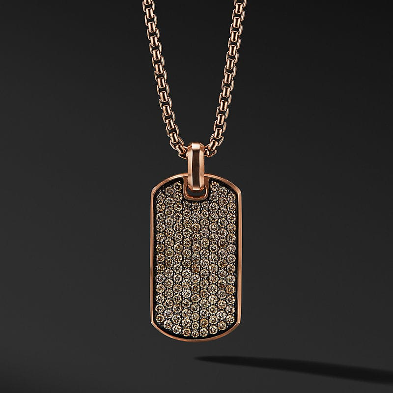 Streamline Tag in 18K Rose Gold with Pavé, 35mm