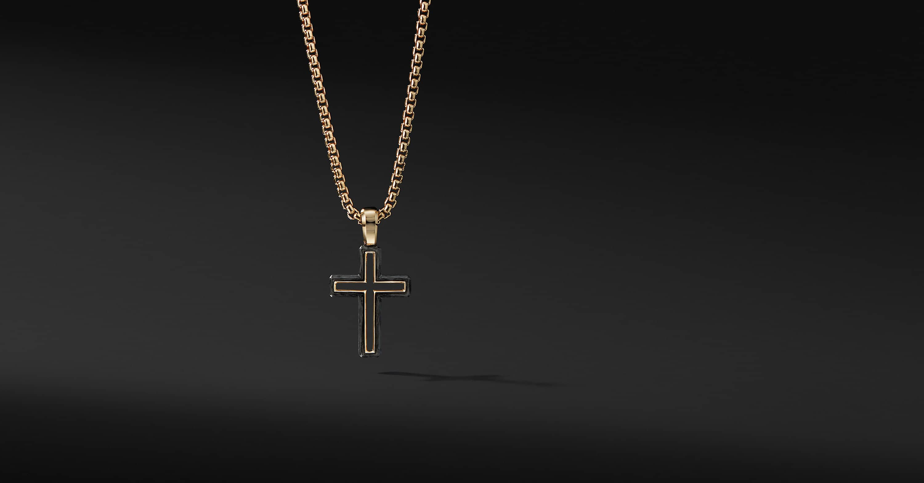 Forged Carbon Cross Pendant with 18K Gold, 24mm
