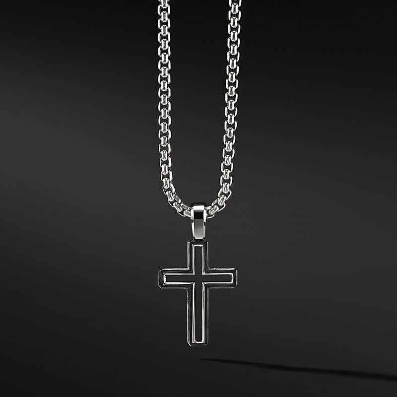 Forged Carbon Cross Pendant, 24mm