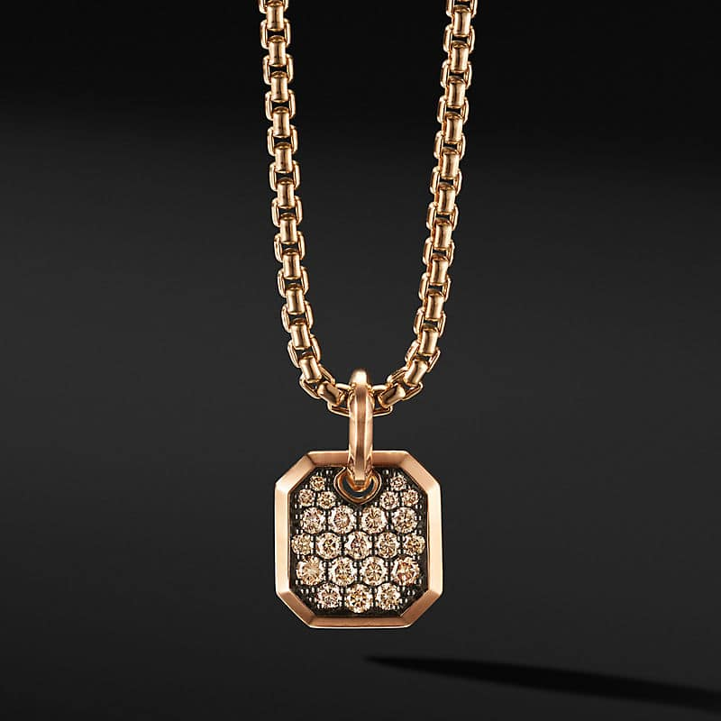 Roman Amulet in 18K Rose Gold with Pavé