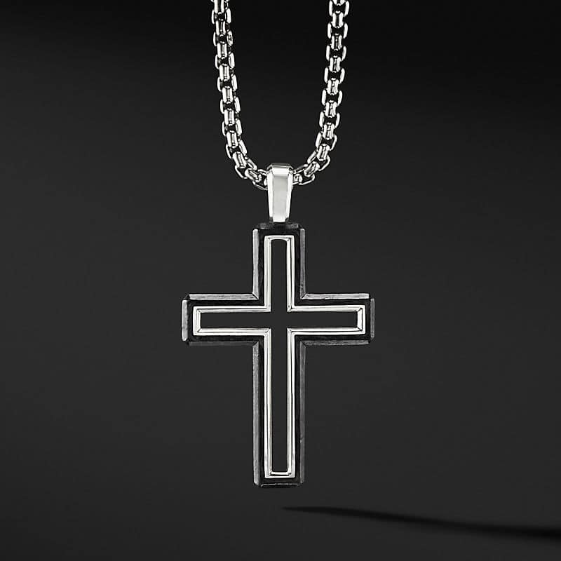 Forged Carbon Cross Pendant, 37mm