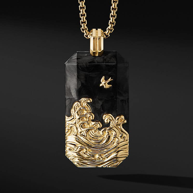 Waves Tag with 18K Yellow Gold