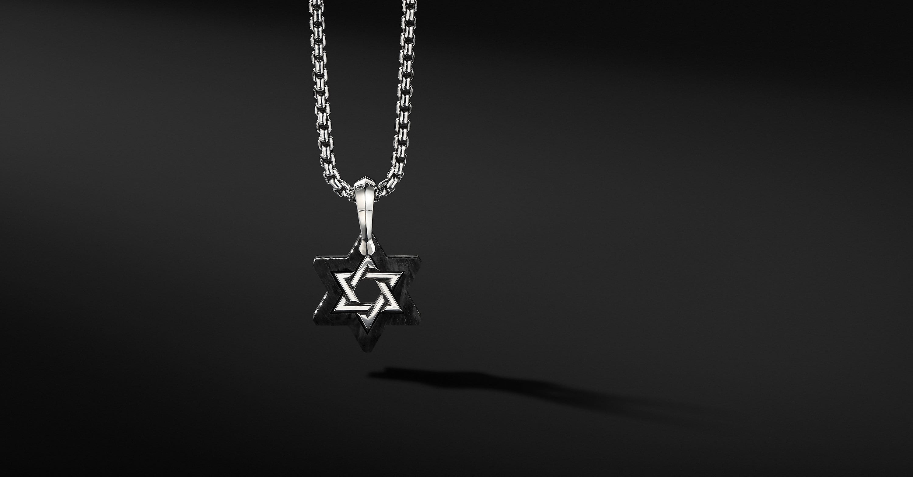 Forged Carbon Star of David Amulet