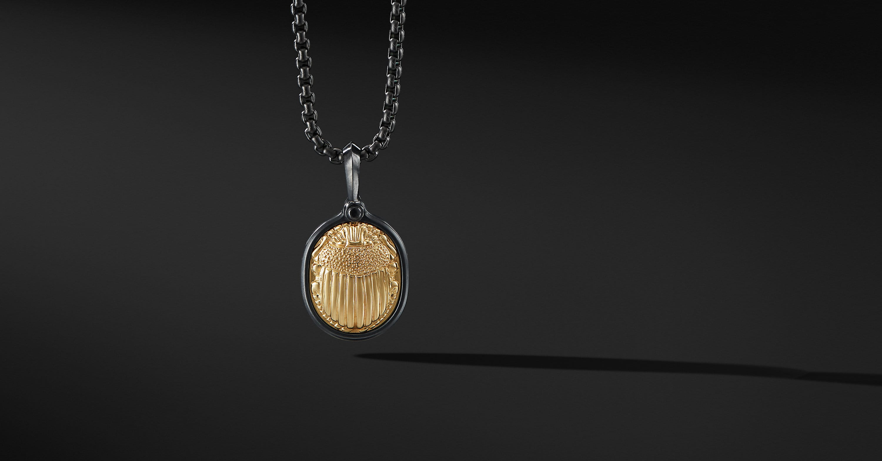 Petrvs Scarab Amulet with Black Titanium and 18K Yellow Gold
