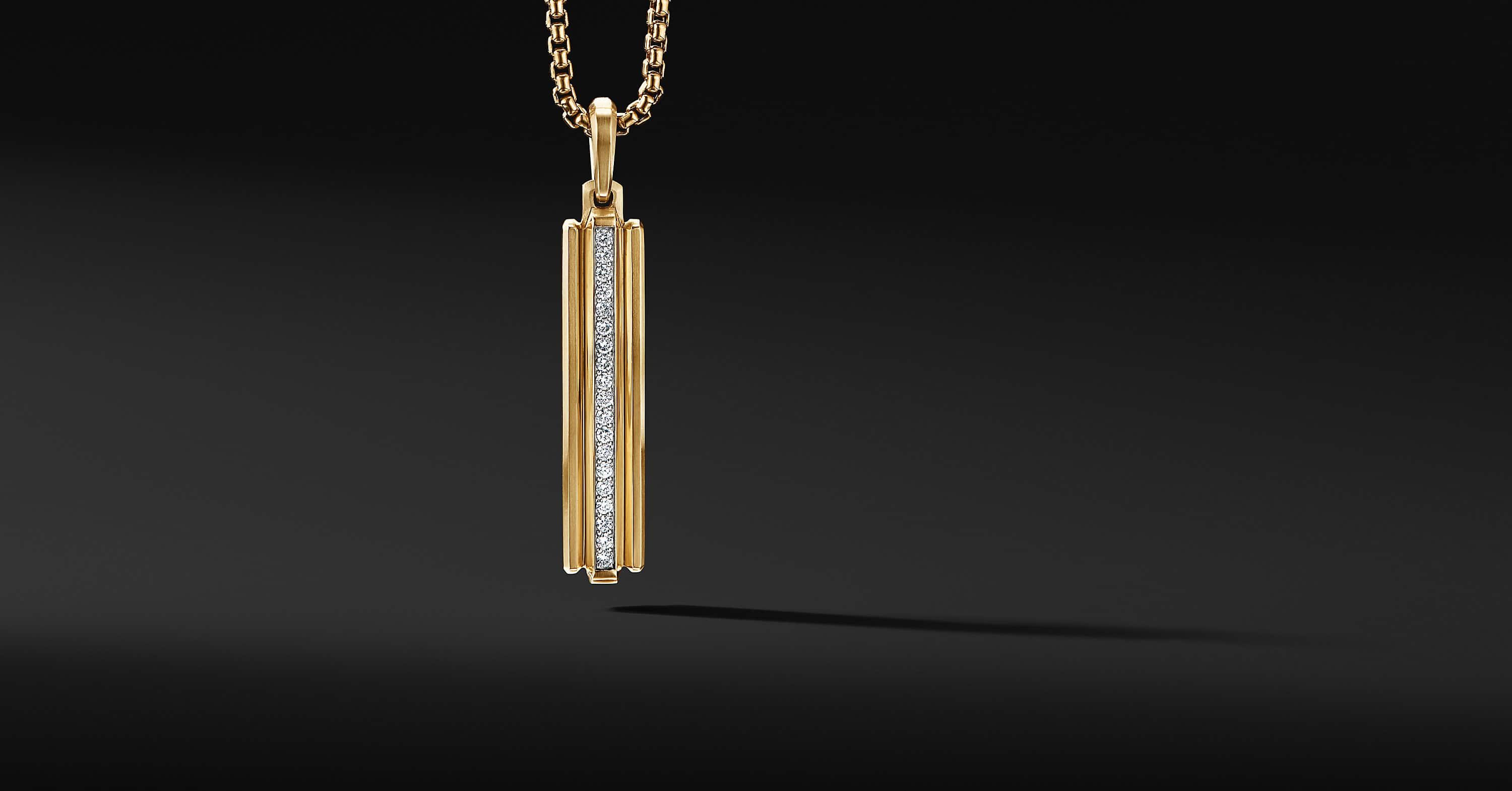 Deco Ingot Pendant in 18K Yellow Gold