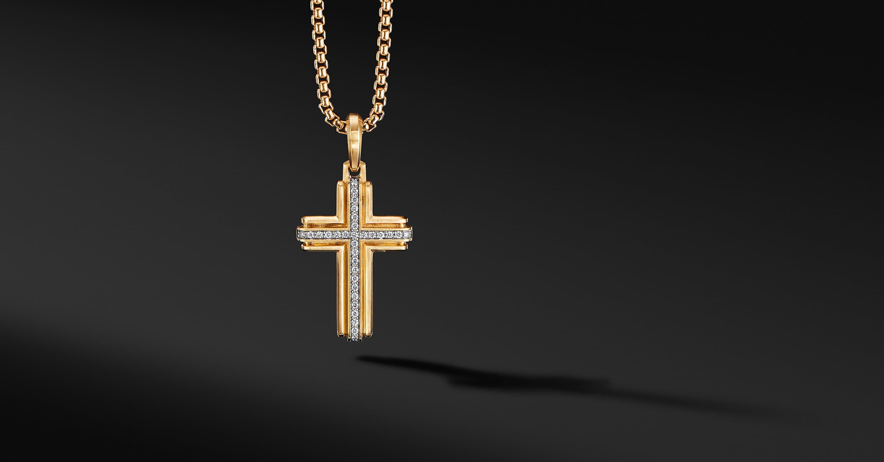 Deco Cross Pendant in 18K Yellow Gold, 34mm
