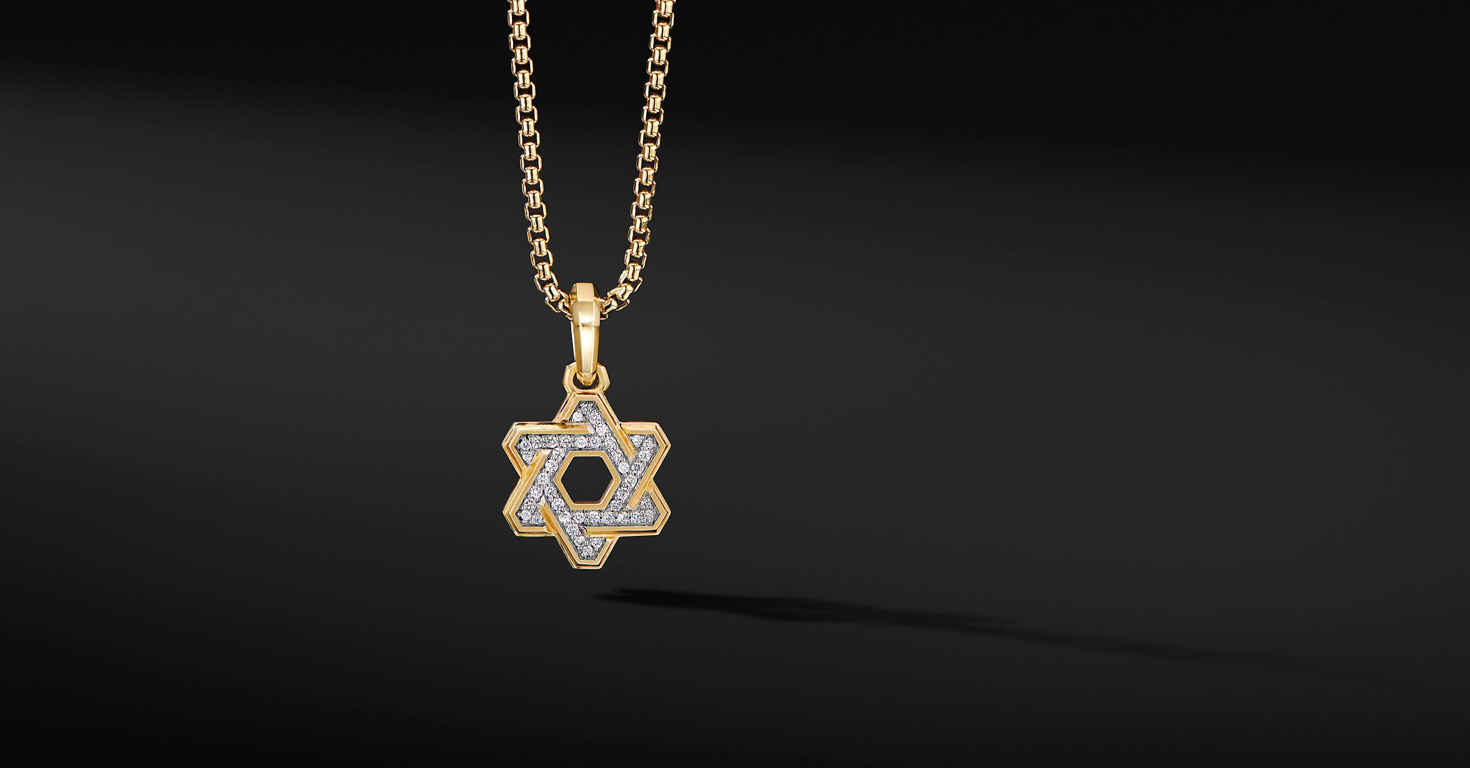 Deco Star of David Pendant in 18K Yellow Gold