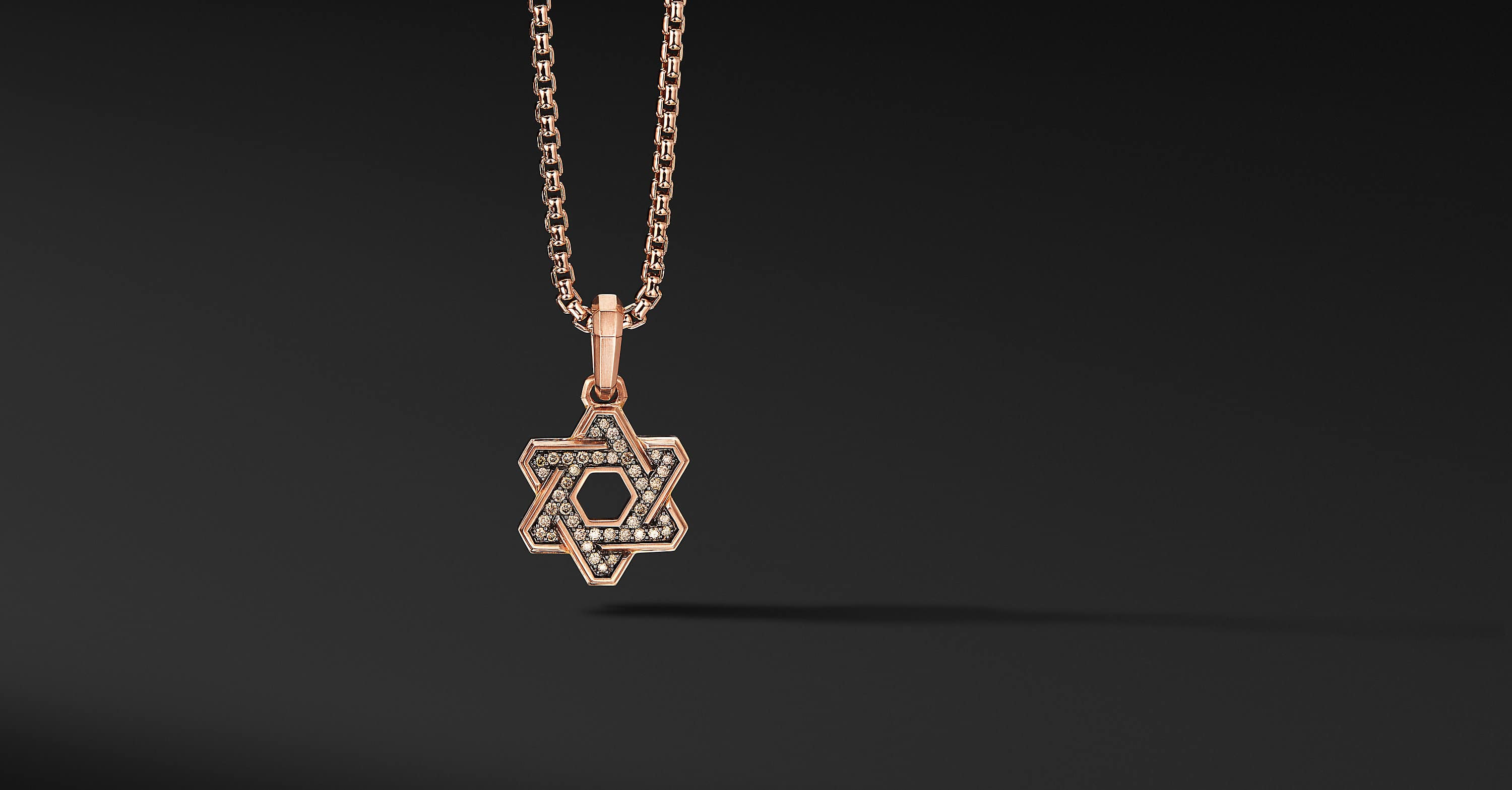 Deco Star of David Pendant in 18K Rose Gold