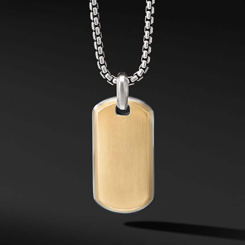 Streamline Tag with 18K Yellow Gold, 35mm