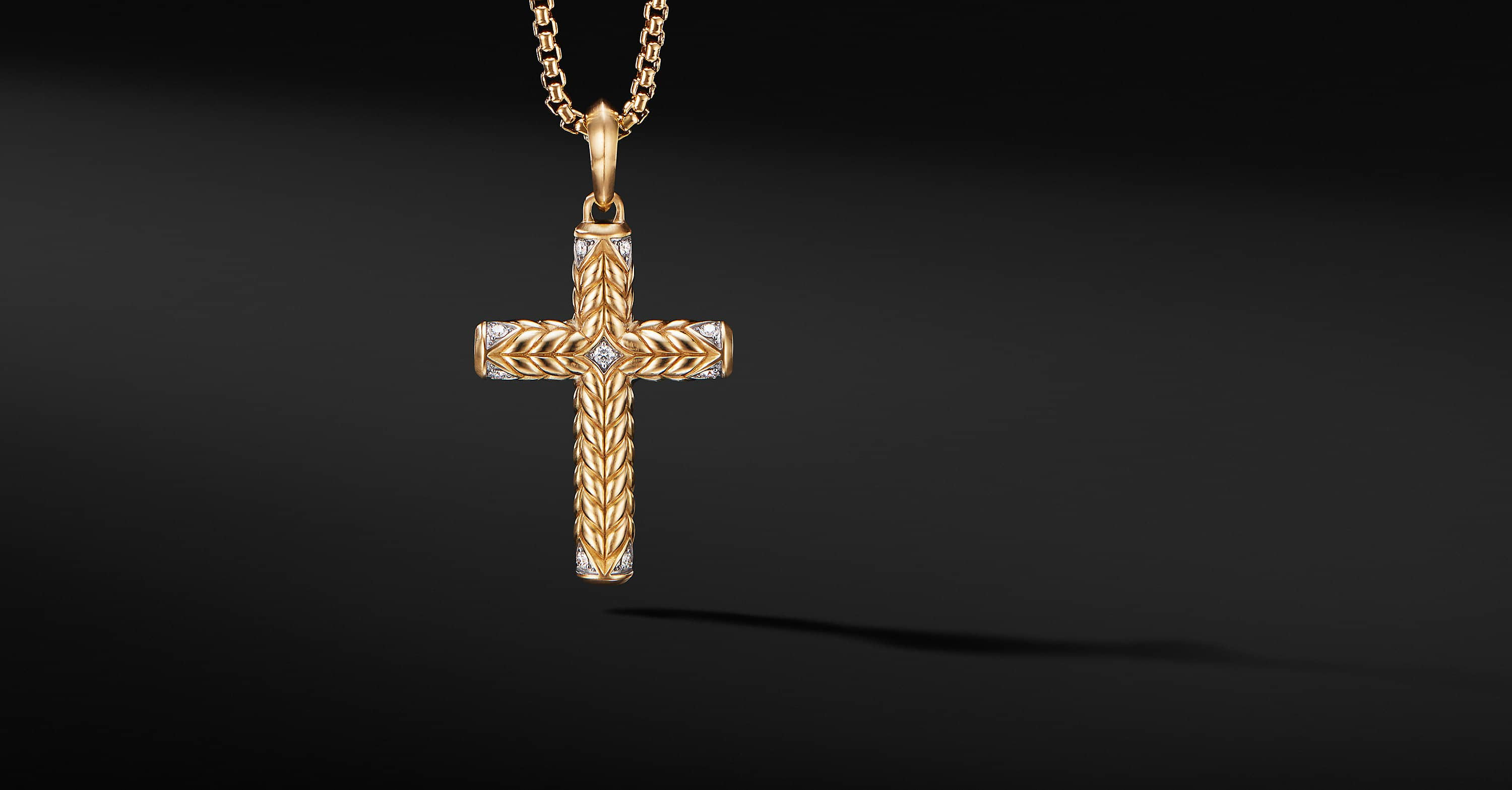 Chevron Sculpted Cross in 18K Yellow Gold, 36mm