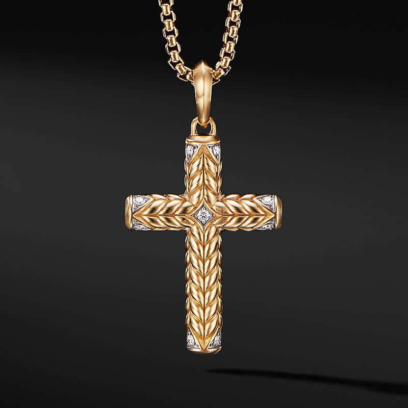 Chevron Sculpted Cross in 18K Yellow Gold with