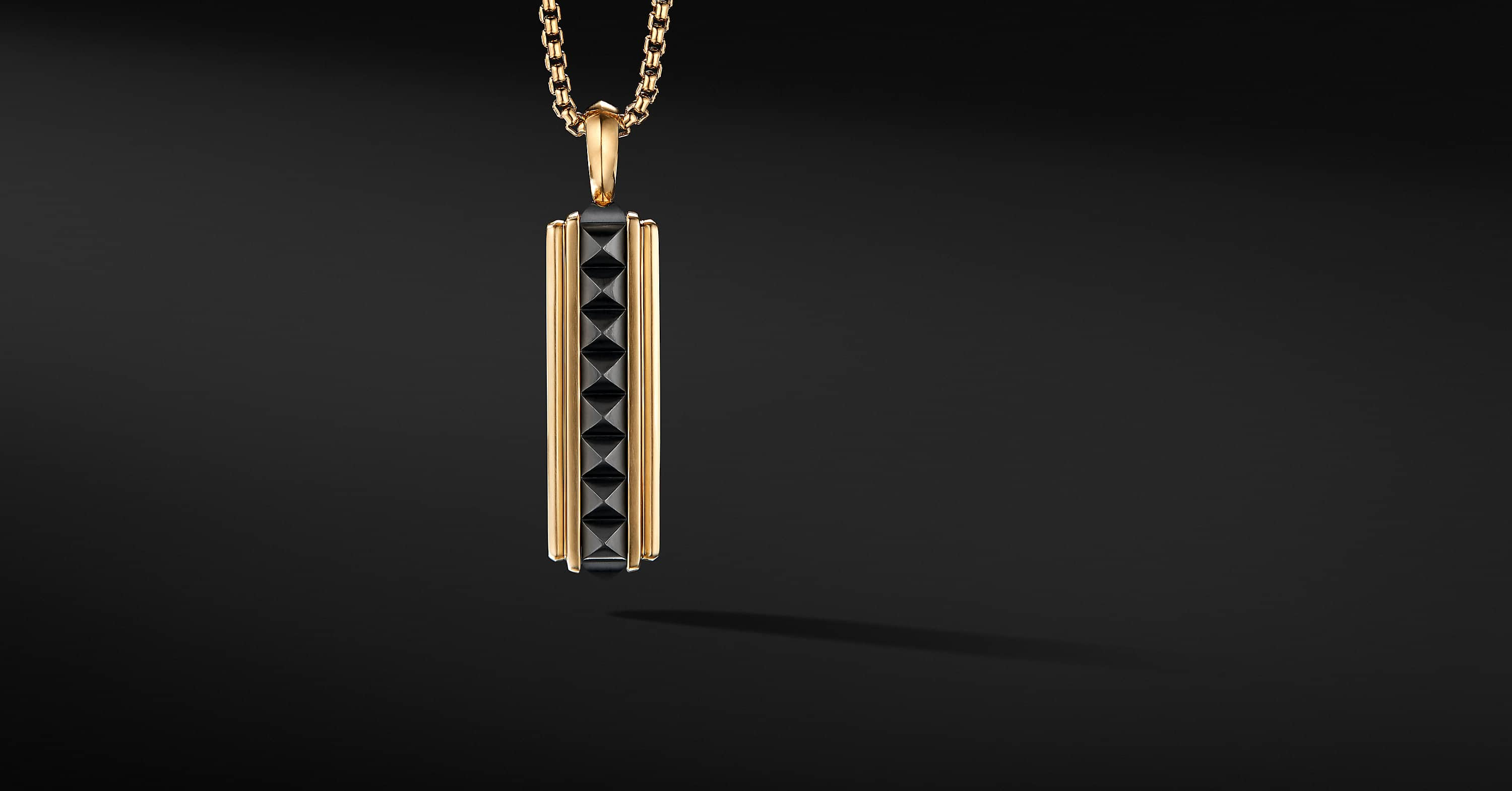 Pyramid Ingot Tag in 18K Yellow Gold with Black Titanium