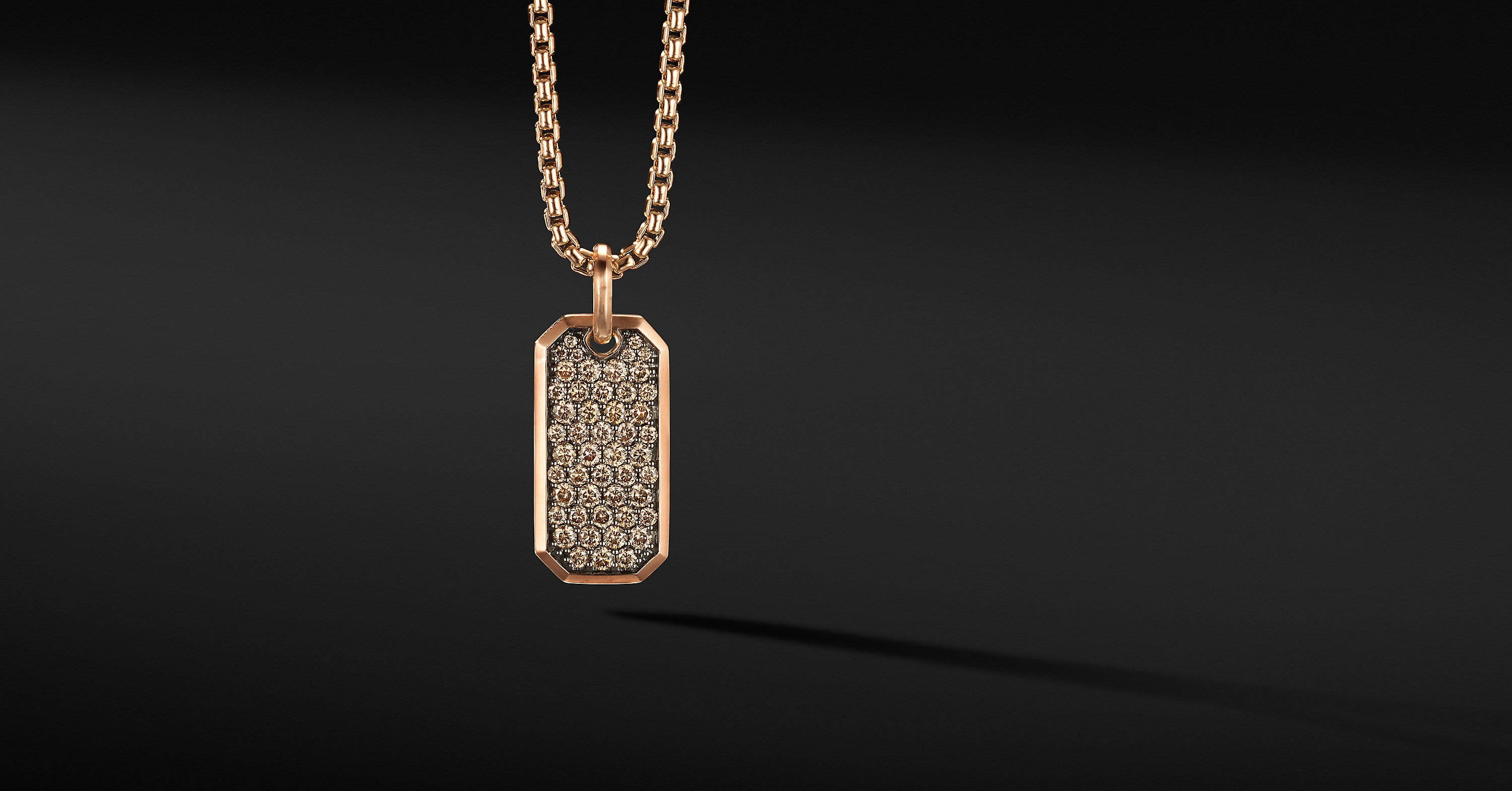 Roman Elongated Tag in 18K Rose Gold