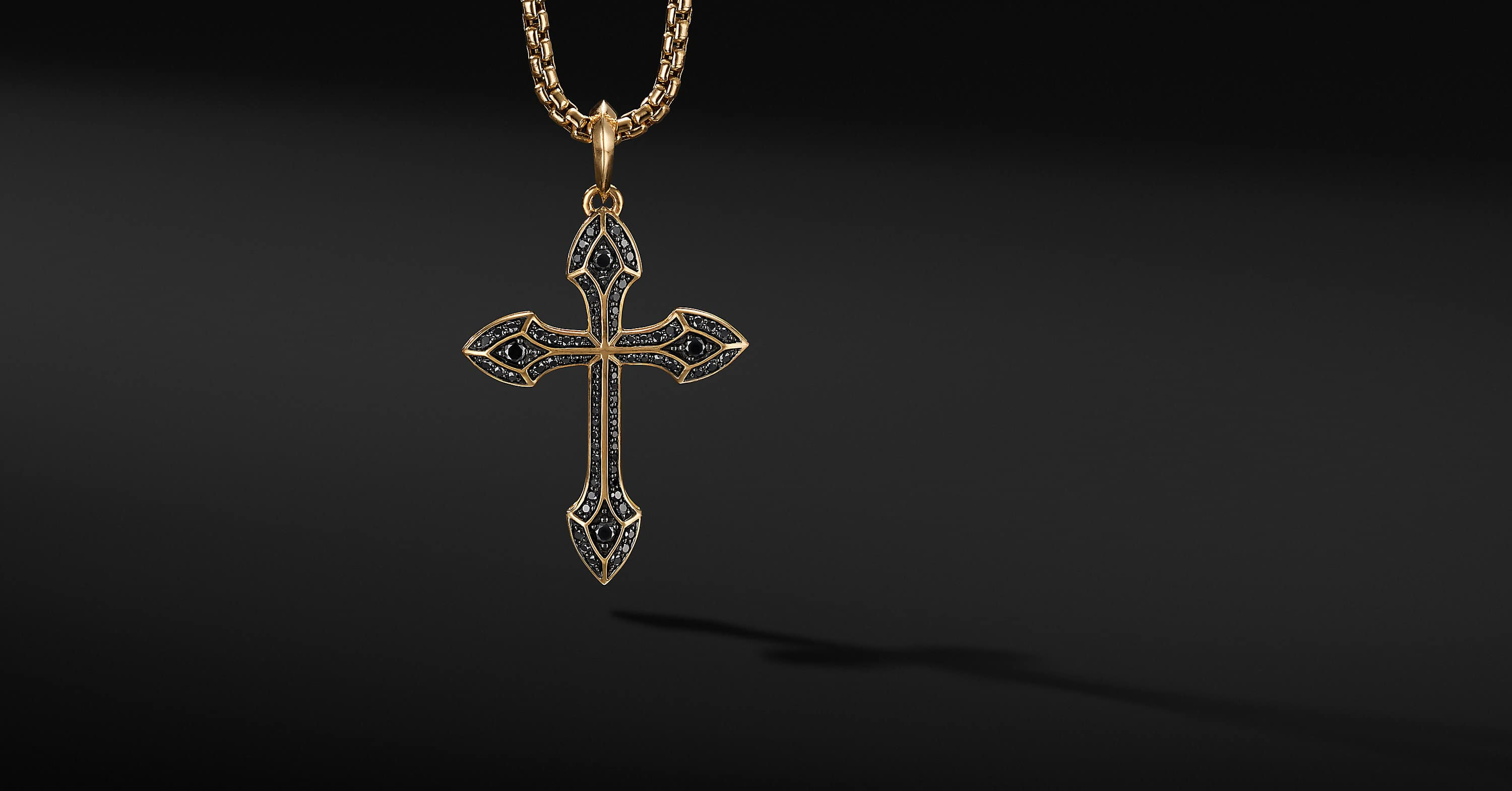Gothic Cross Amulet with 18K Yellow Gold